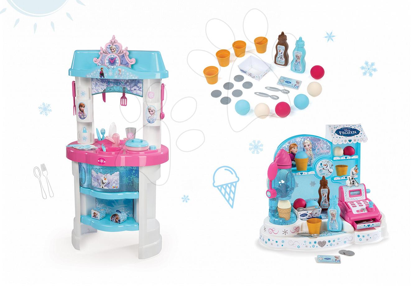 Kuchynky pre deti sety - Set kuchynka Frozen Smoby s trblietkami a zmrzlináreň Frozen s pokladňou