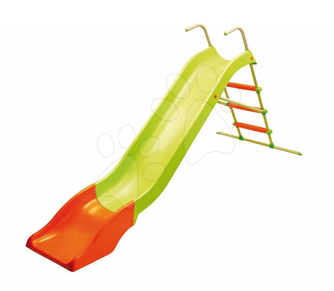 Šmykľavky pre deti  - Šmykľavka Starplast dĺžka 300 cm s kovovou konštrukciou zeleno-oranžová