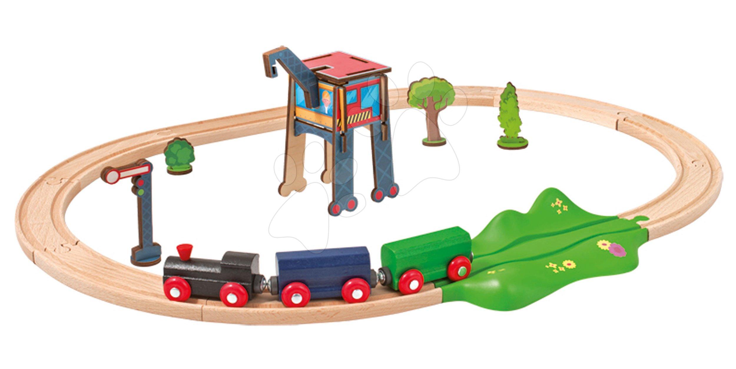 Cale ferată din lemn Train Oval Eichhorn cu trei vagoane pod și accesorii 18 piese 205 cm lungimea șinelor de la 3 ani
