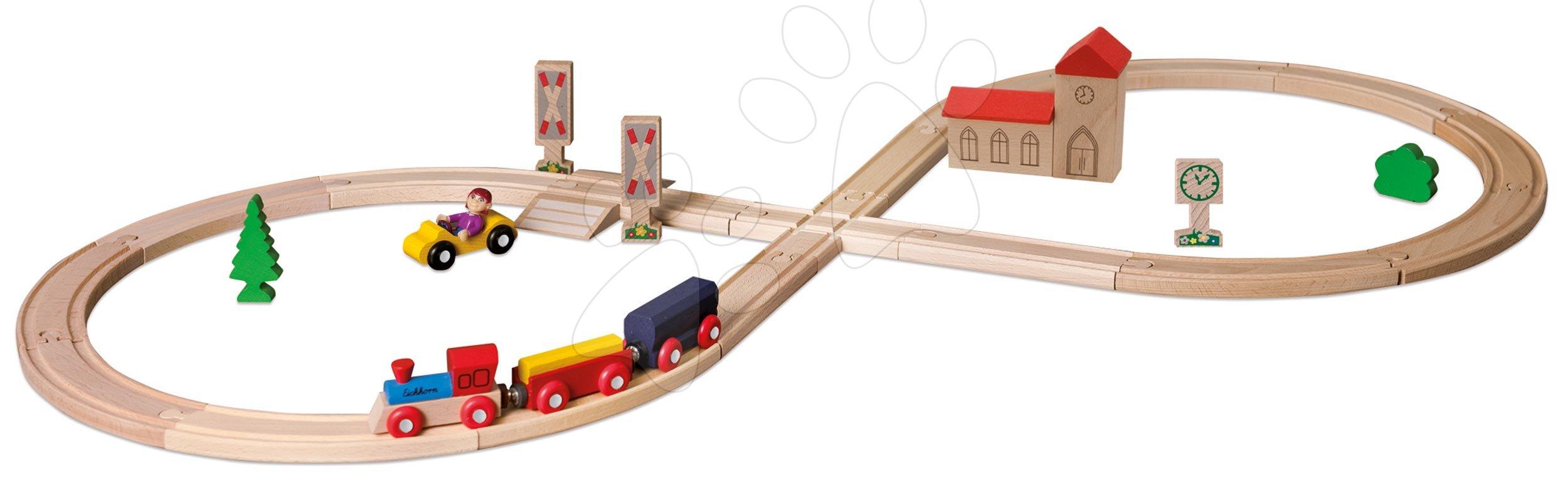 Fa vasúti sínpálya Train Figure-of 8 Railway Eichhorn mozdony 2 vagonnal és kiegészítőkkel 35 darabos 290 cm hosszú vasútvonal