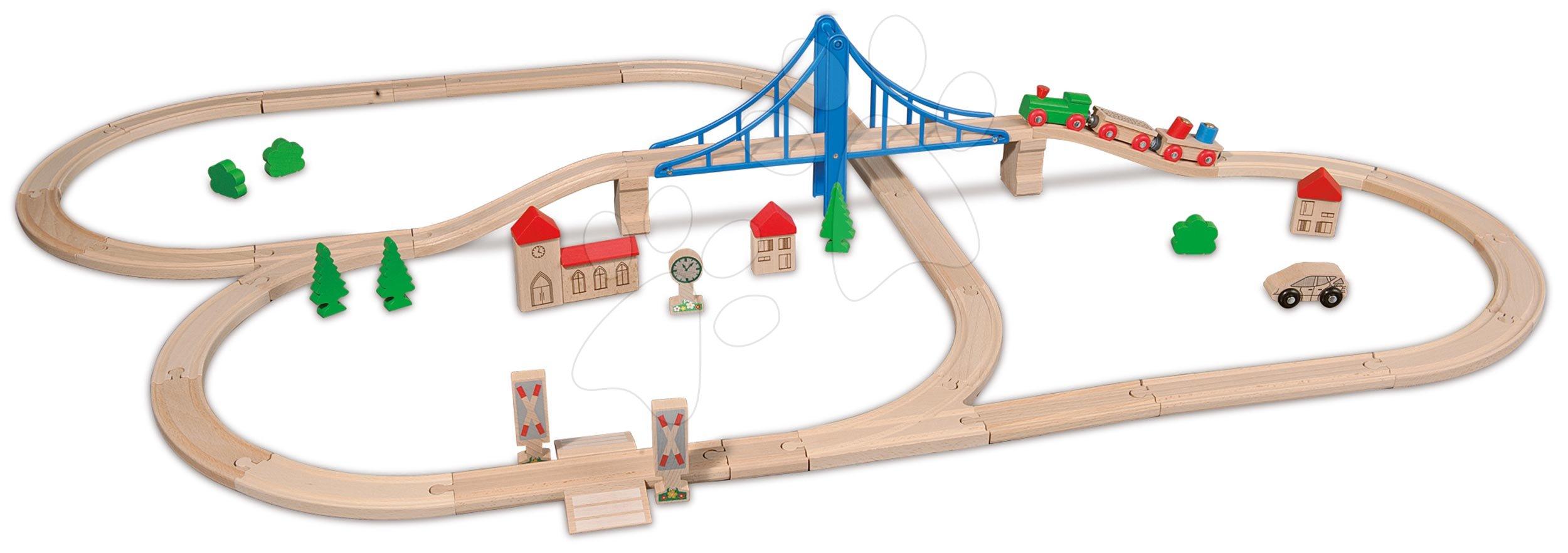 Cale ferată din lemn Train Set with Bridge Eichhorn cu 5 vagoane pod și accesorii 55 piese 500 cm lungimea șinelor de la 3 ani EH1264