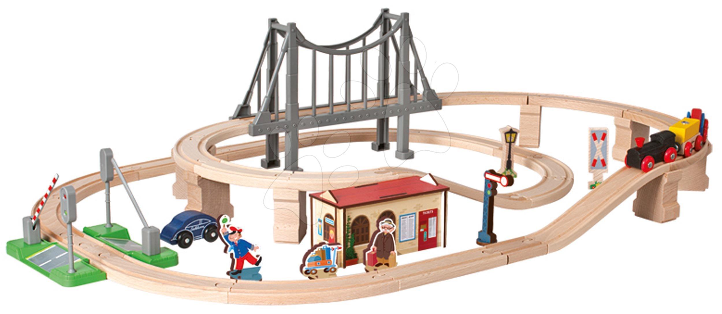Cale ferată din lemn cu gară Train Set with Bridge Eichhorn cu 5 vagoane pod și accesorii 54 piese 450 cm lungimea șinelor de la 3 ani