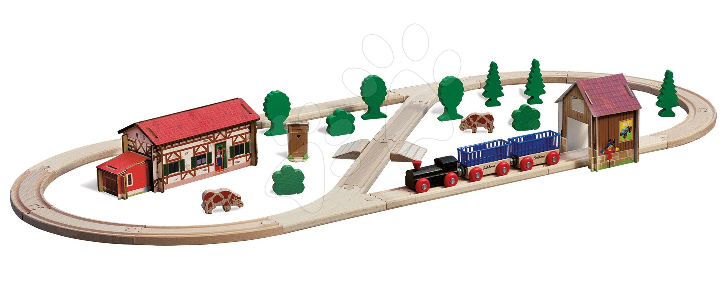 Cale ferată din lemn cu clădiri agricole și tunel Train Set Farm Eichhorn cu tractor 35 piese 360 cm lungimea șinelor