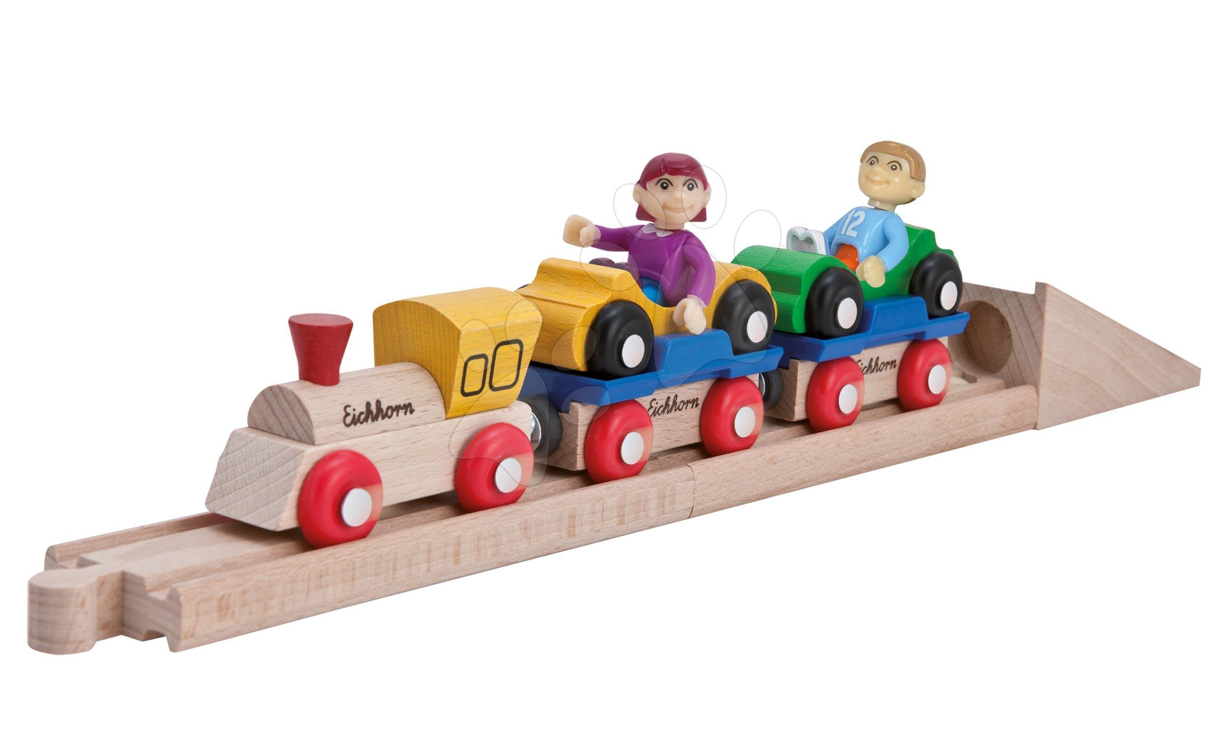 Piese de schimb cale ferată Train Motorail Train Eichhorn locomotivă cu două vagoane și mașini 10 piese 38 cm lungime de la 3 ani EH1361