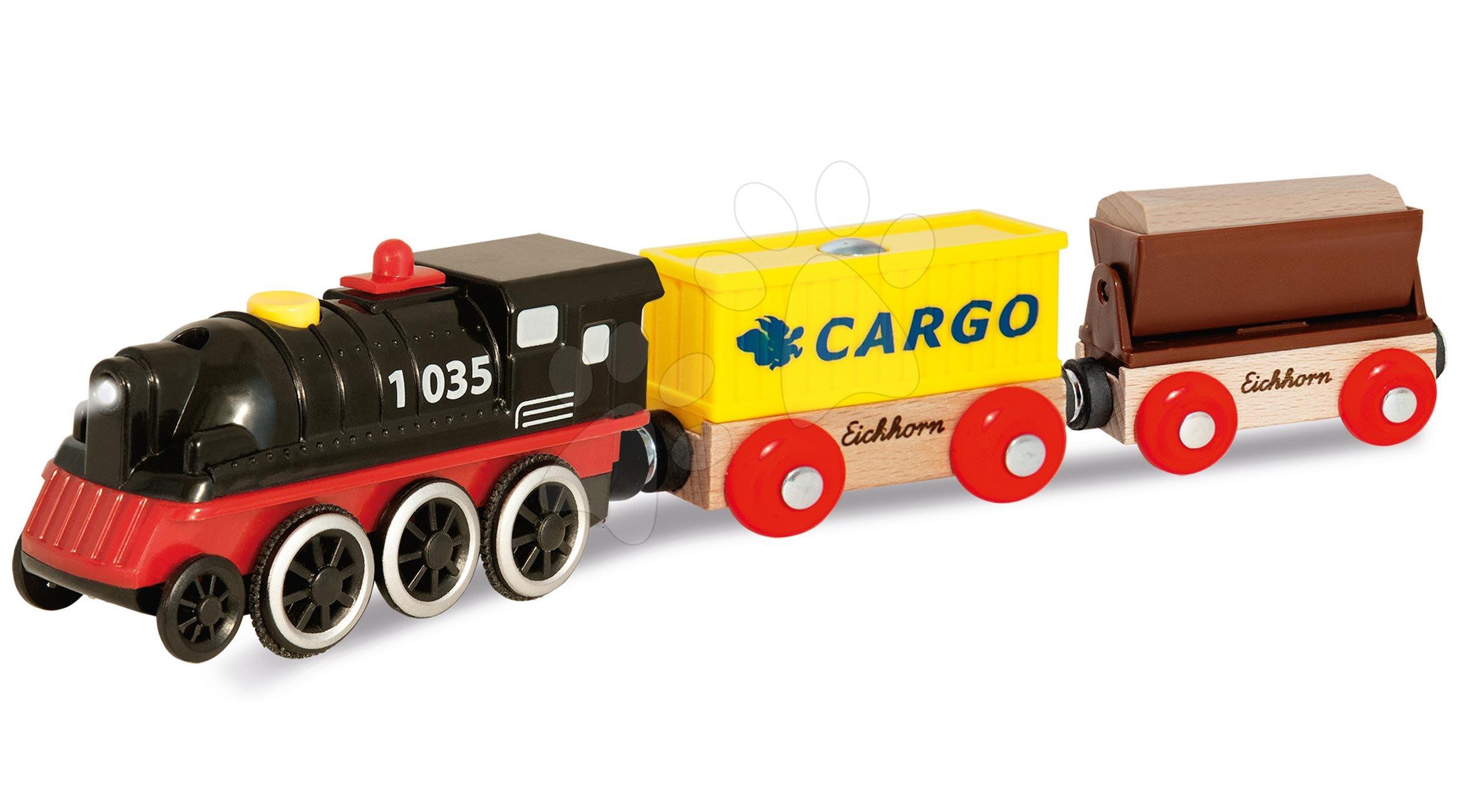 Piese de schimb cale ferată Train E-Loc with Wagon Eichhorn locomotivă pe baterii cu 2 vagoane 27 cm lungime de la 3 ani EH1369