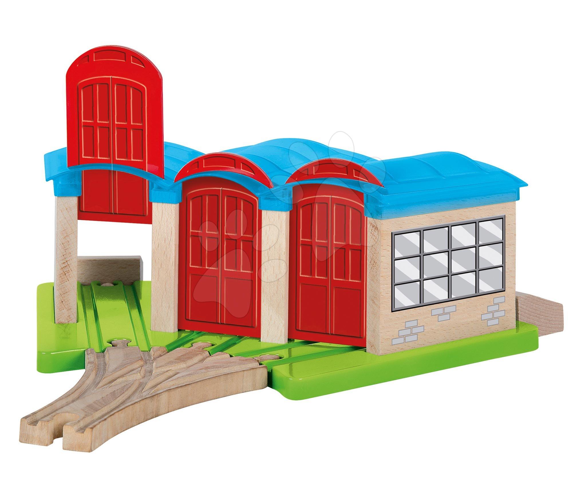 Piese de schimb pentru cale ferată Train Engine Shed Eichhorn depozit pentru trenuri cu șine 32 cm lungime de la 3 ani