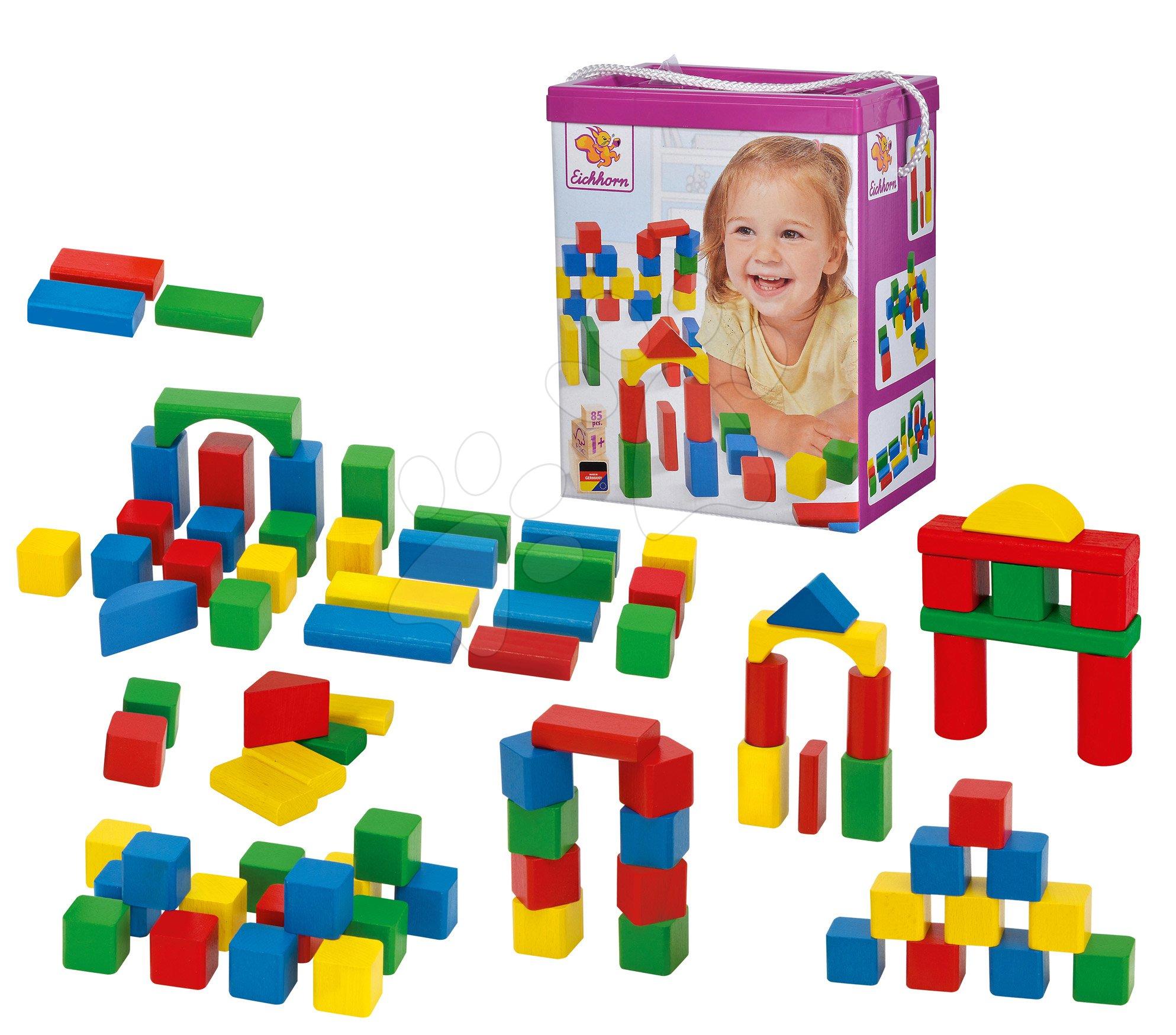 Dřevěné kostky - Dřevěné kostky Wooden Toy Blocks Eichhorn barevné 85 dílů v různých tvarech od 12 měsíců
