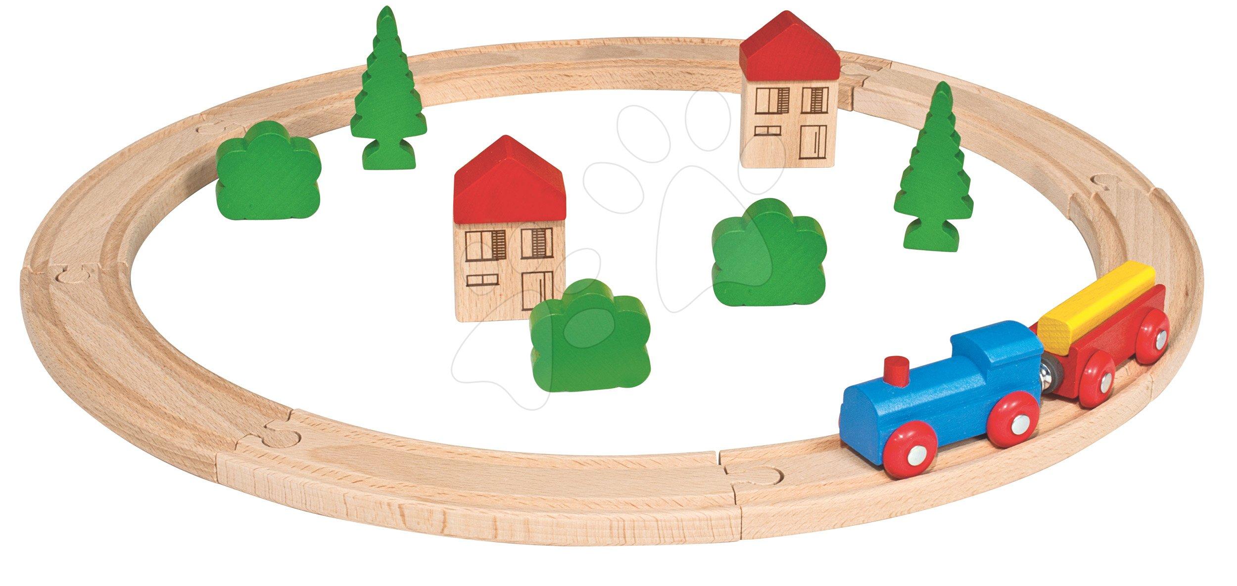 Drevená vláčikodráha Wooden Toy Eichhorn s doplnkami domčeky a stromy 20 dielov