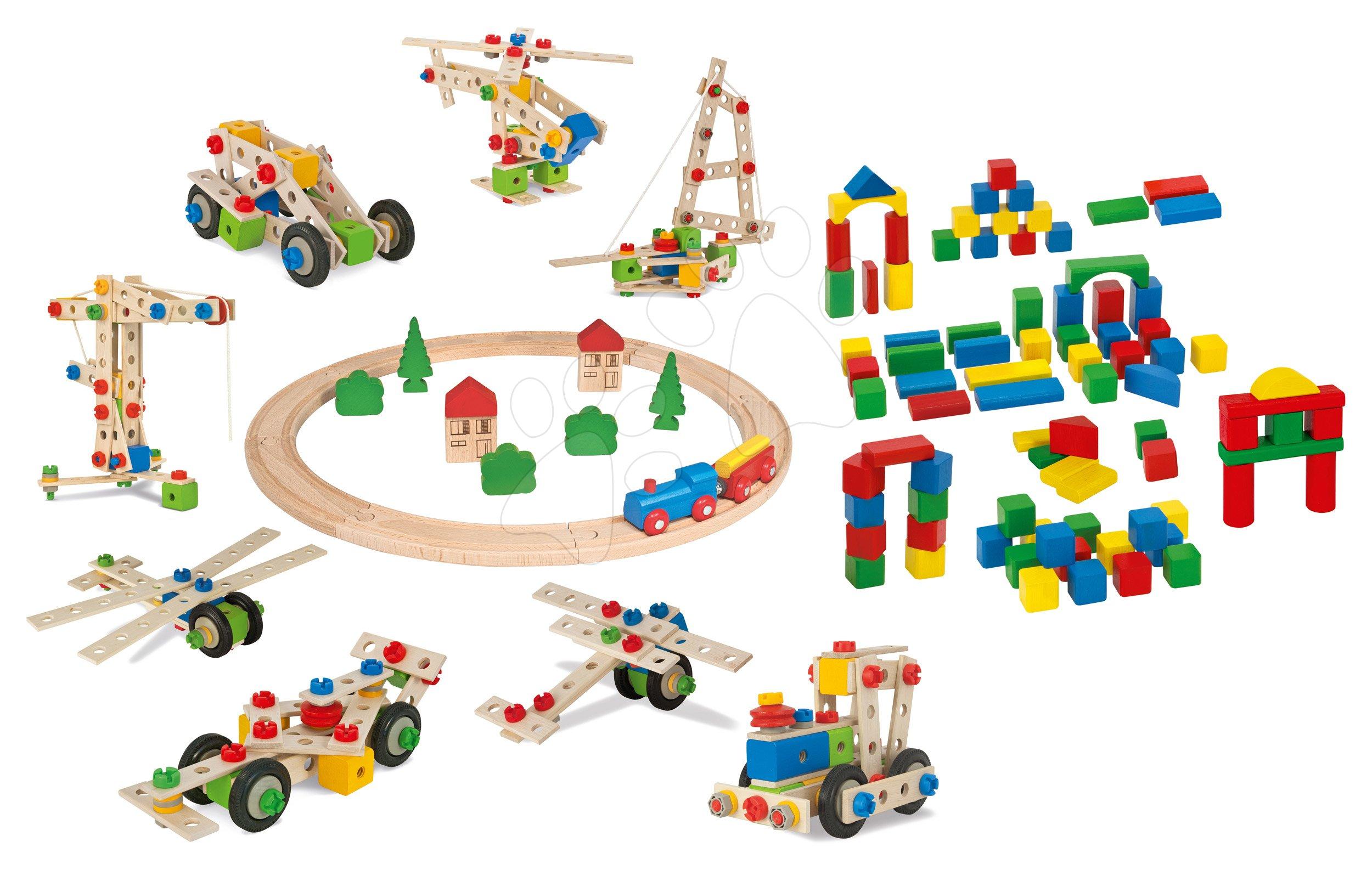 Drevená sada Wooden Toy Assortment 3in1 Eichhorn vláčikodráha 20 dielov stavebnica 85 dielov a kocky 85 kusov od 1-3 rokov