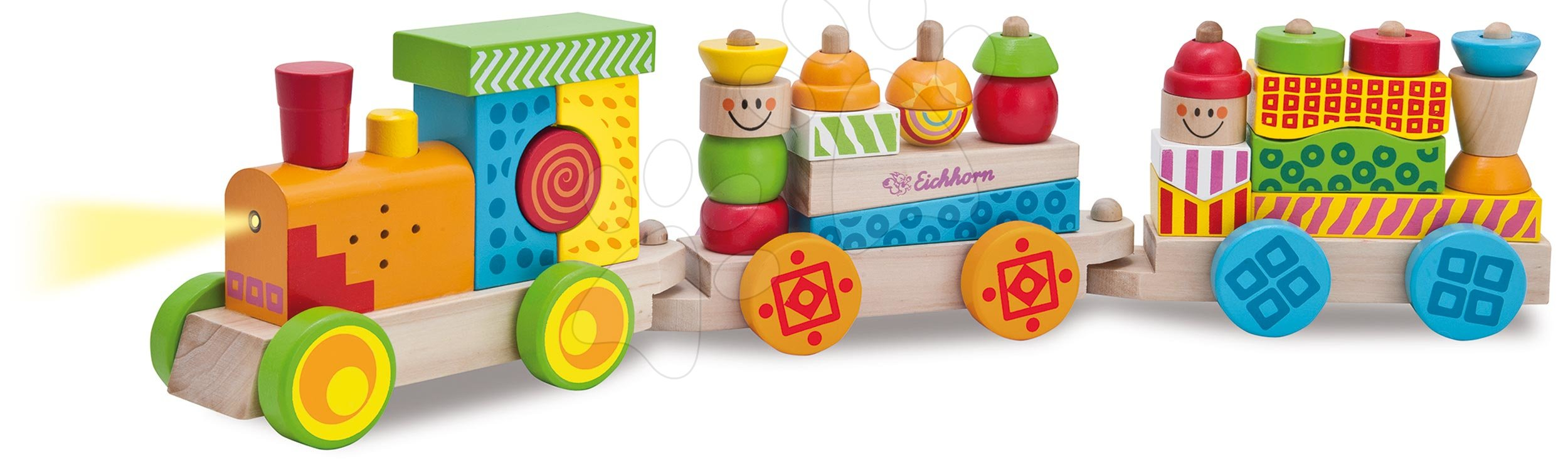 Trenuleț din lemn cu sunete și lumini Color Train With Light and Sound Eichhorn vagoane cu 28 cuburi 31 piese 59 cm lungime de la 12 luni