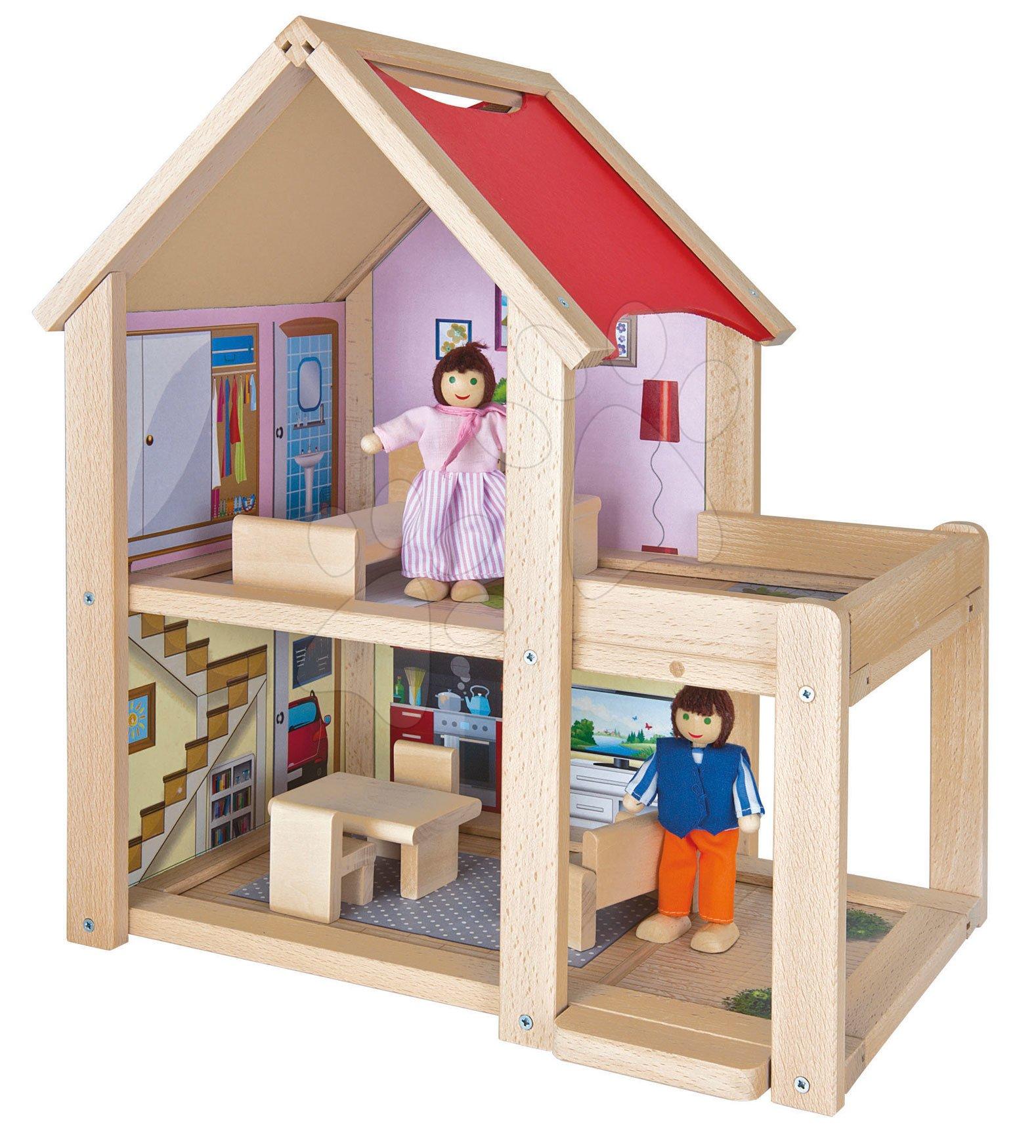 Drevený domček pre bábiky Doll's House Eichhorn komplet vybavený s nábytkom a 2 figúrkami výška 41 cm