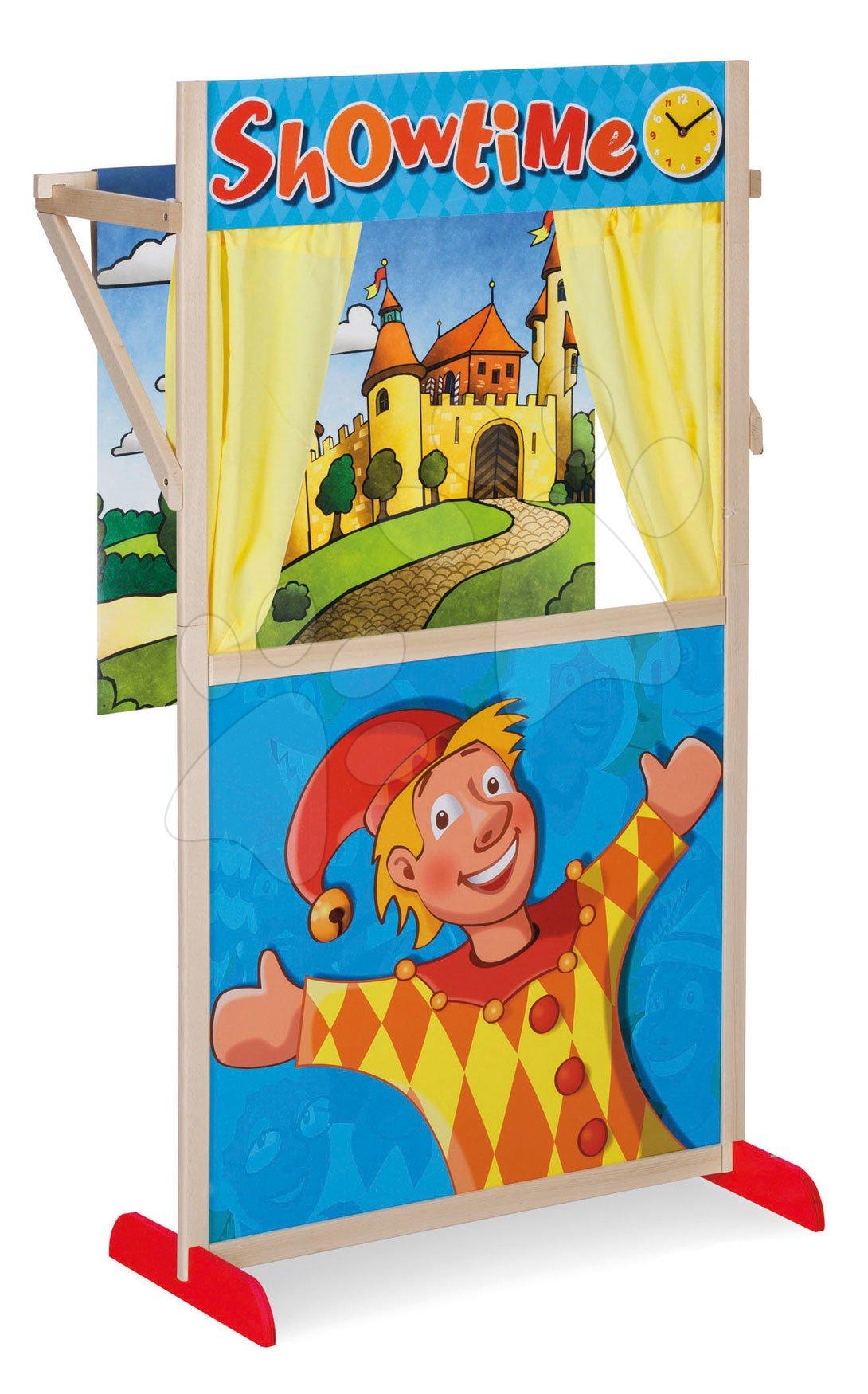 Teatru de păpuși din lemn Puppet Theatre Eichhorn cu o scenă de basm și perdea 110 cm înălțime de la 3 ani