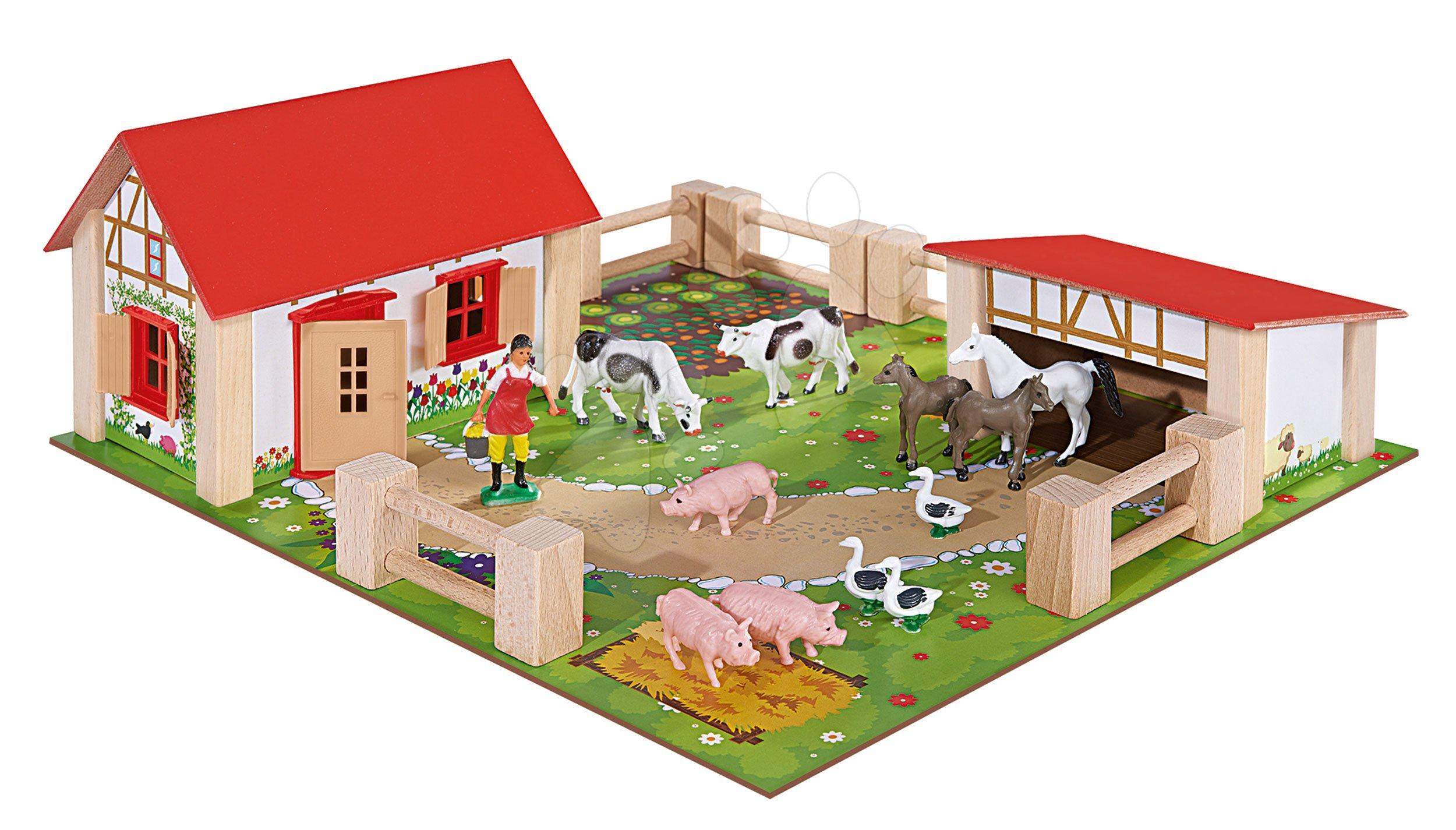 Dřevěná farma se zvířátky Farmyard Small Eichhorn se dvěma budovami a dvorem 21 dílů