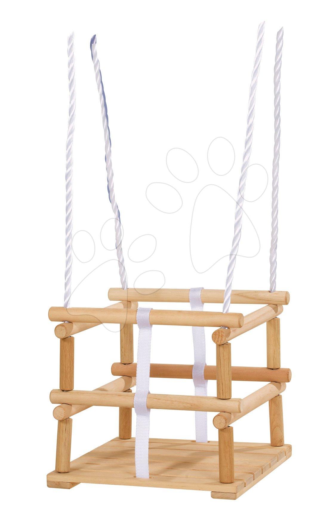 Ljuljačke  - Drvena ljuljačka Wooden Baby Swing Outdoor Eichhorn prirodna dužine 140-210 cm sa sjedalicom 30*30 cm i 20 kg nosivosti od 12 mjeseci