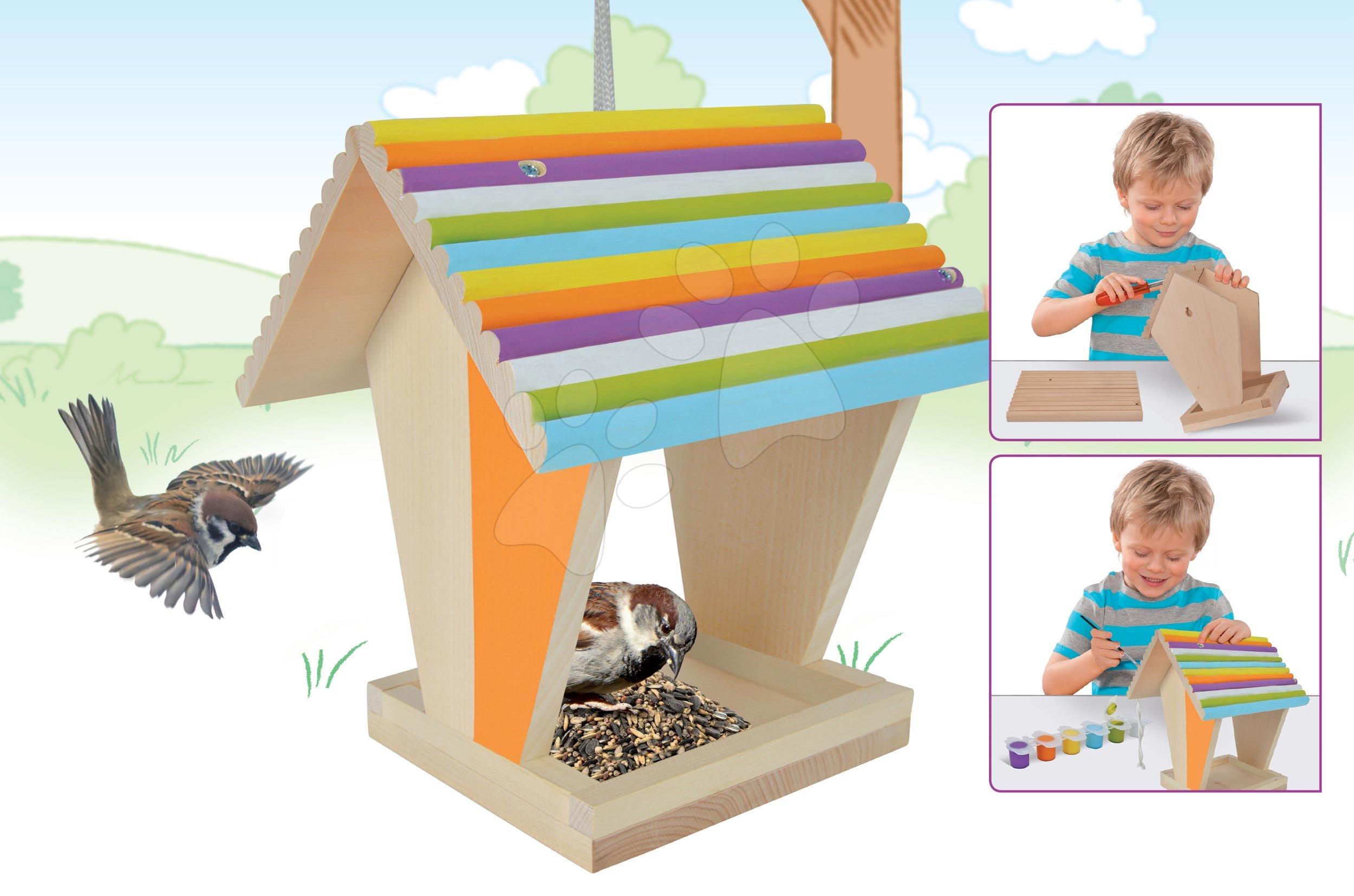 Dřevěné krmítko pro ptáčky Outdoor Feeding House Eichhorn Sestav a vymaluj – se štětcem a barvami od 6 let