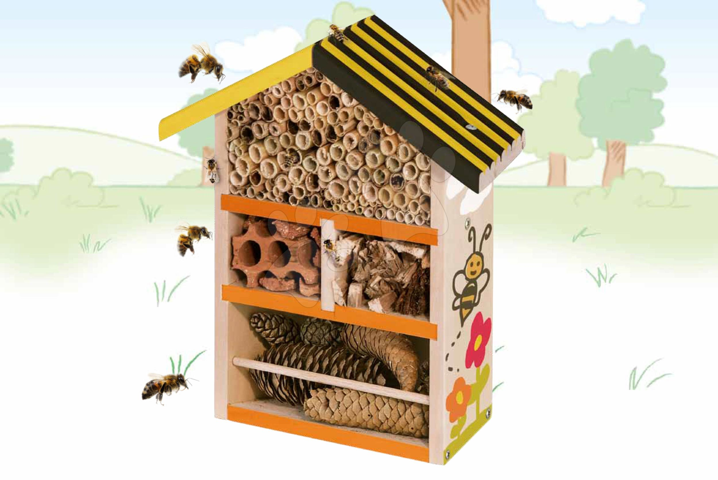 Drevený úľ pre včely Outdoor Bee House Eichhorn Poskladaj a vymaľuj - so štetcom a farbami od 6 rokov
