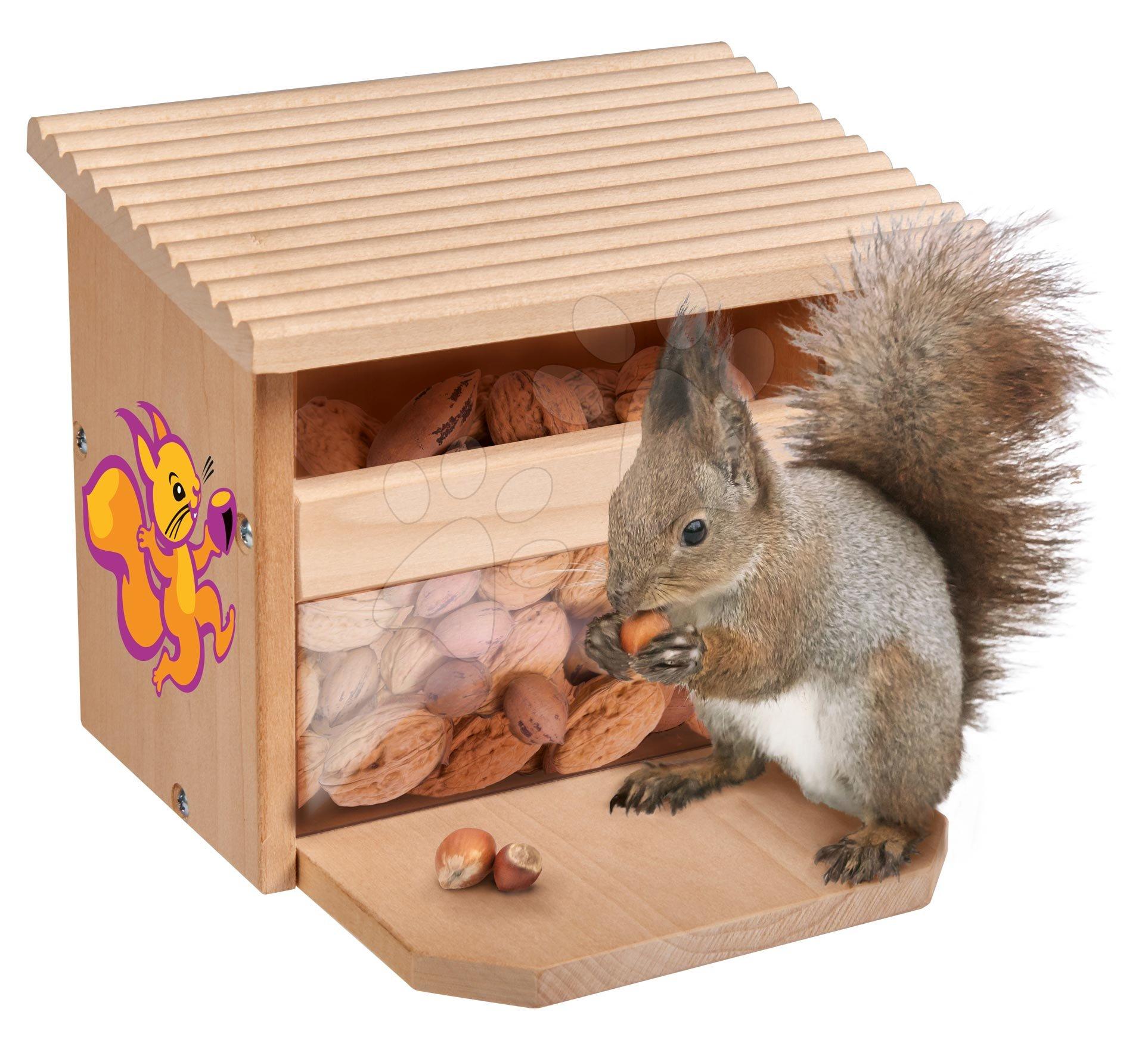 Drevené kŕmidlo pre veveričku Outdoor Feeding Squirell House Eichhorn 'poskladaj a vymaľuj' s farbičkami od 6 rokov