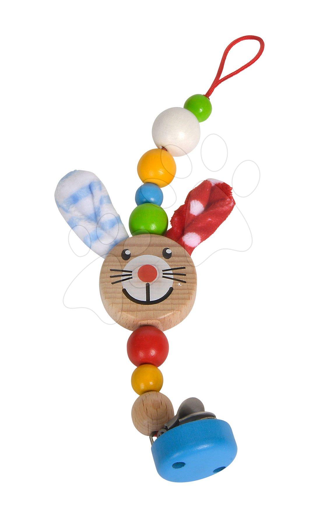 Dřevěné poutko na dudlík Rabbit Baby Eichhorn 27 cm s oušky a kuličkami od 0 měs