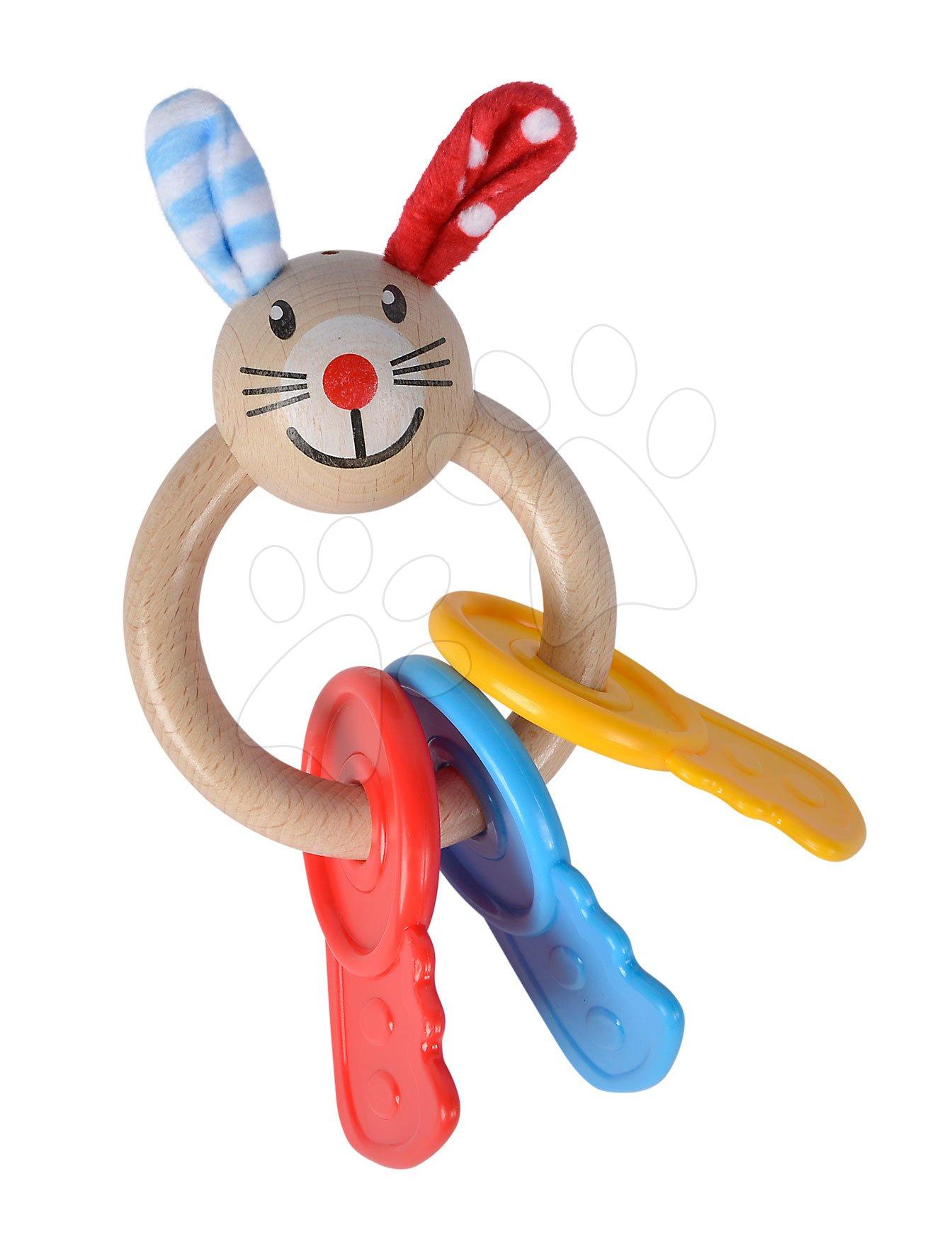 Drevená hrkálka s hryzátkom Baby Eichhorn zajačik s kľúčami na krúžku od 3 mes