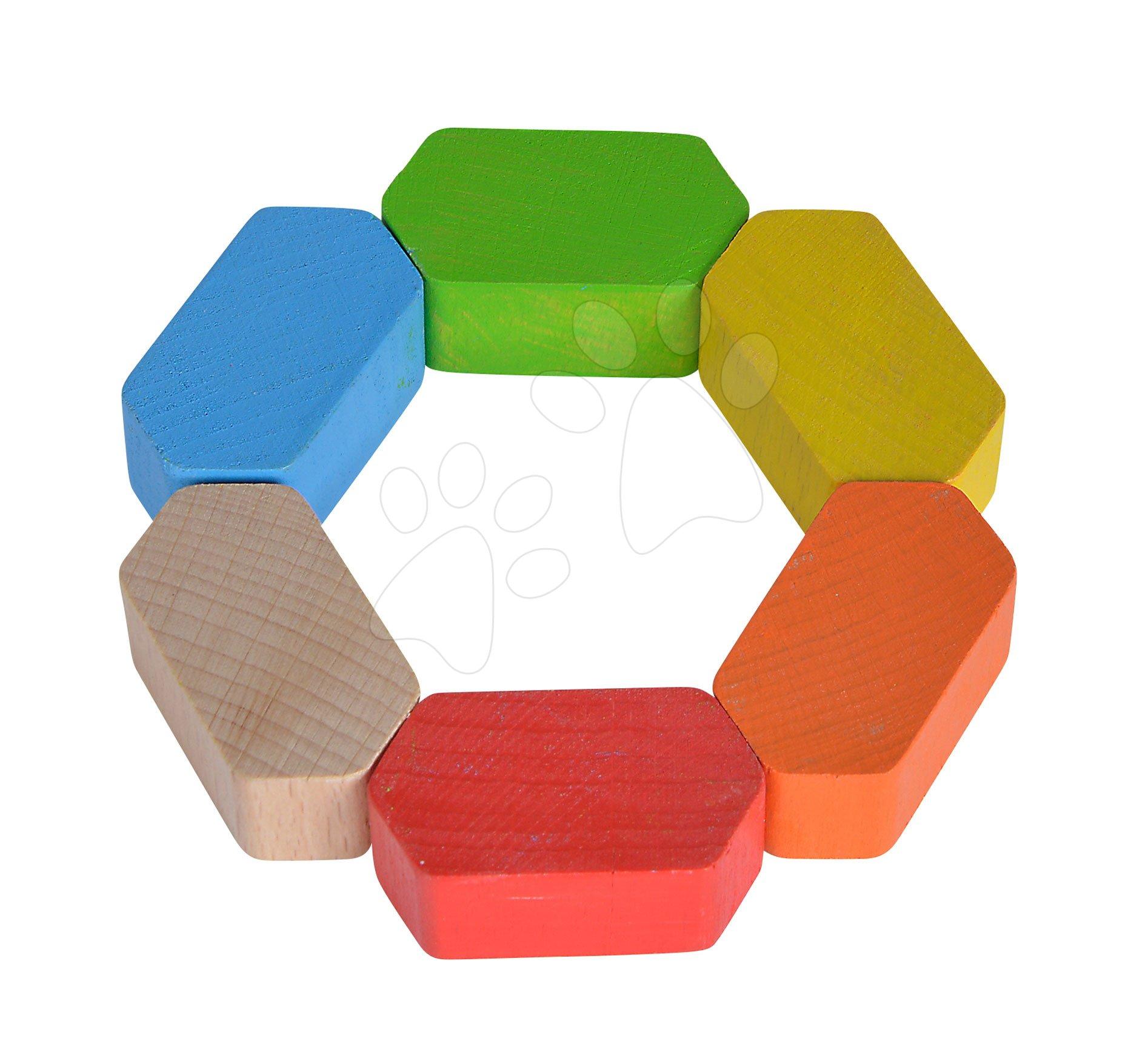 Drevená hrkálka Grasping Hexagon Baby Eichhorn šestuhoľník od 3 mes