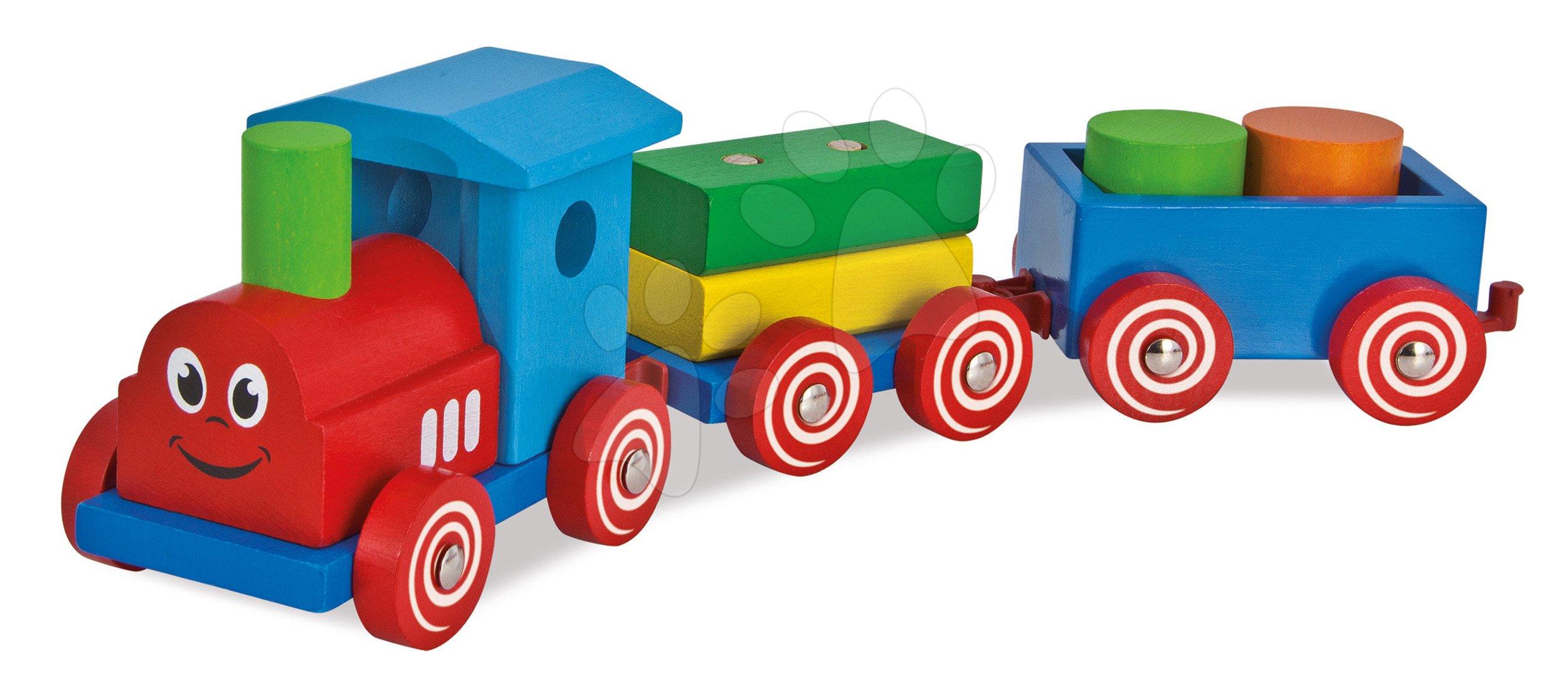 Dřevěné kostky - Dřevěný vláček s kostkami Coloured Train Eichhorn lokomotiva s 2 vagony 7 dílů od 12 měsíců