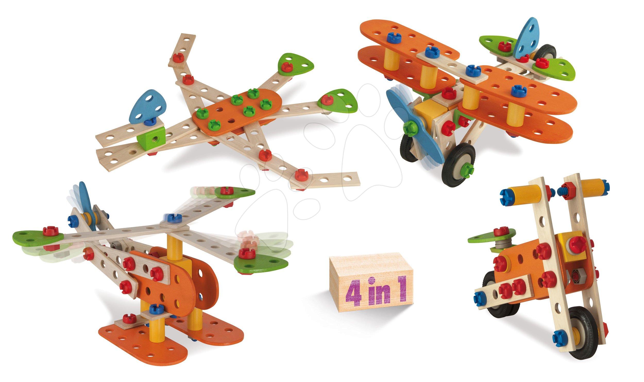 Drevená stavebnica lietadlo dvojplošník Constructor Biplane Eichhorn štyri modely (dinosaur, dvojplošník, motorka, hydroplán) 90 dielov od 4 rokov