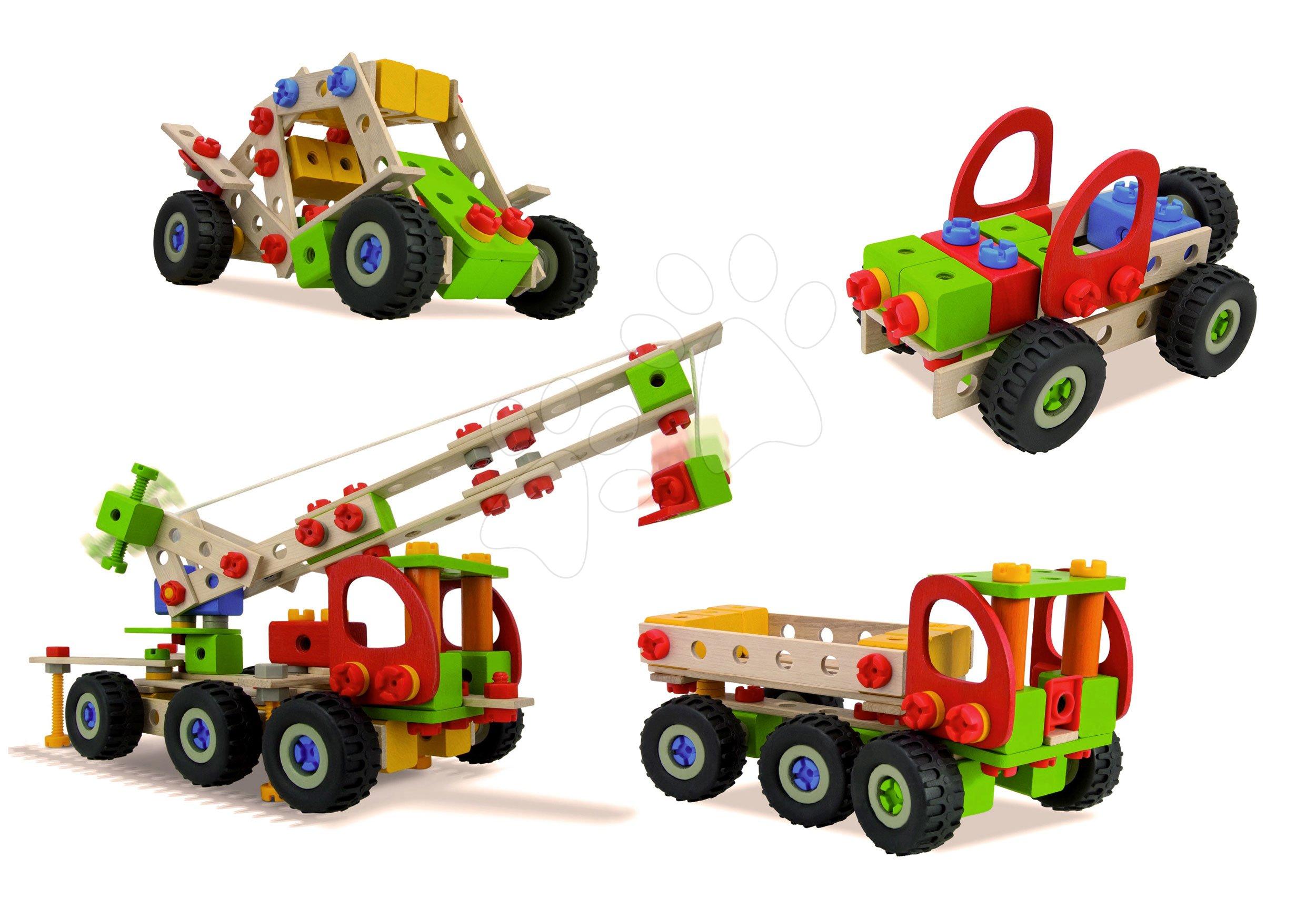 Drevená stavebnica pojazdný žeriav Constructor Mobile Crane Eichhorn štyri modely (žeriav, buggy, jeep, nákladné auto) 190 dielov od 6 rokov EH39039