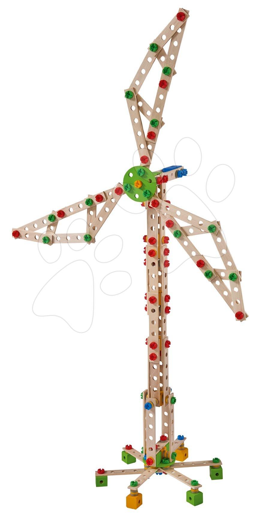 Fa építőjáték szélmalom Constructor Windmill Eichhorn 8 modell(malom, daru, repülőgép, vadászgép, katamaran, autó, híd, konténeres daru) 300 darabos 6 évtől