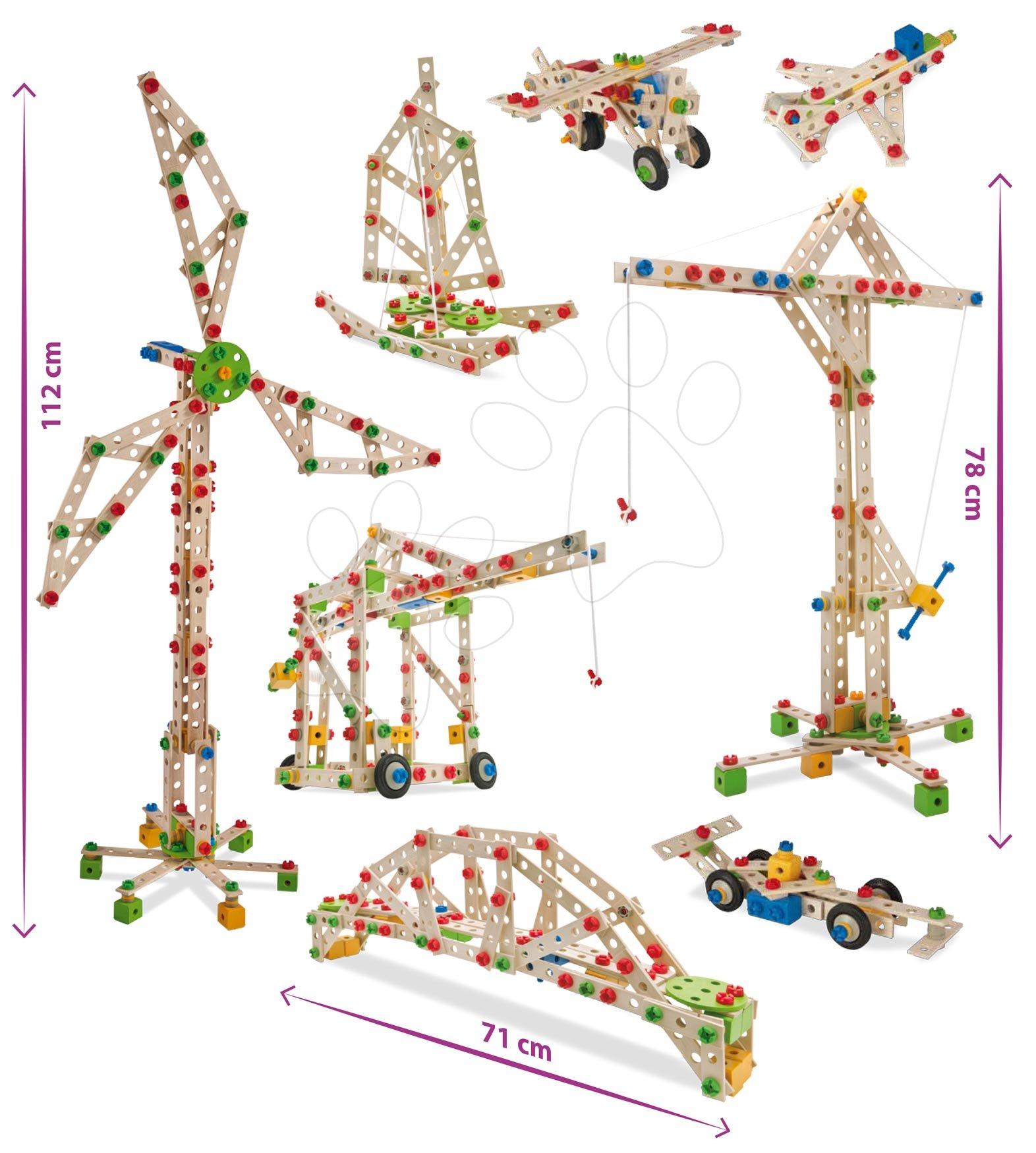 Drevená stavebnica veterný mlyn Constructor Windmill Eichhorn 8 modelov (mlyn, žeriav, lietadlo, stíhačka, katamaran, auto, most, žeriav na kontajnery) 300 dielov od 6 rokov