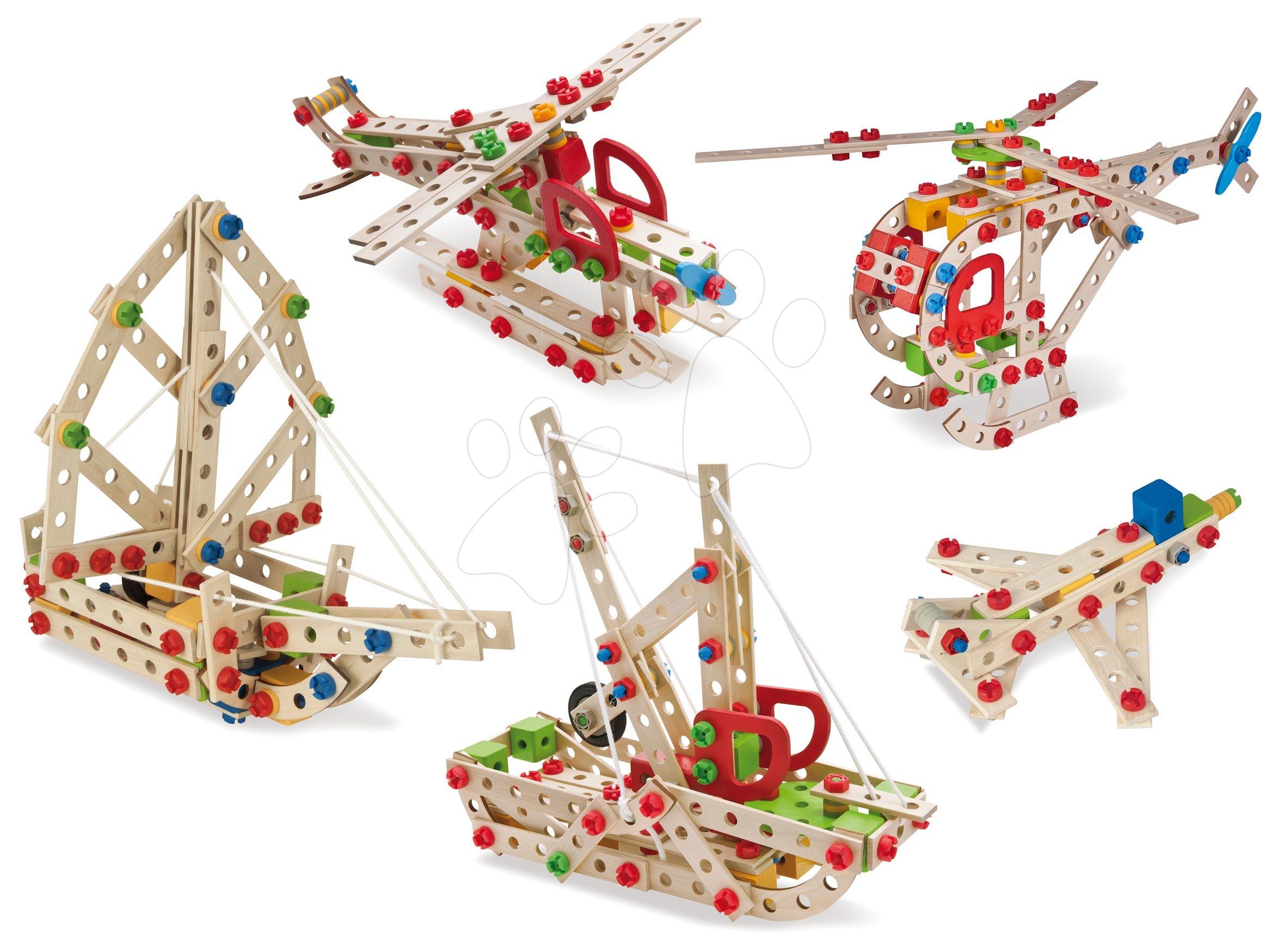 Joc de construit din lemn elicopter Constructor Helicopter Eichhorn cinci modele (elicopter, navă, remorcher, avion de vânătoare, hidroavion) 225 piese de la 6 ani