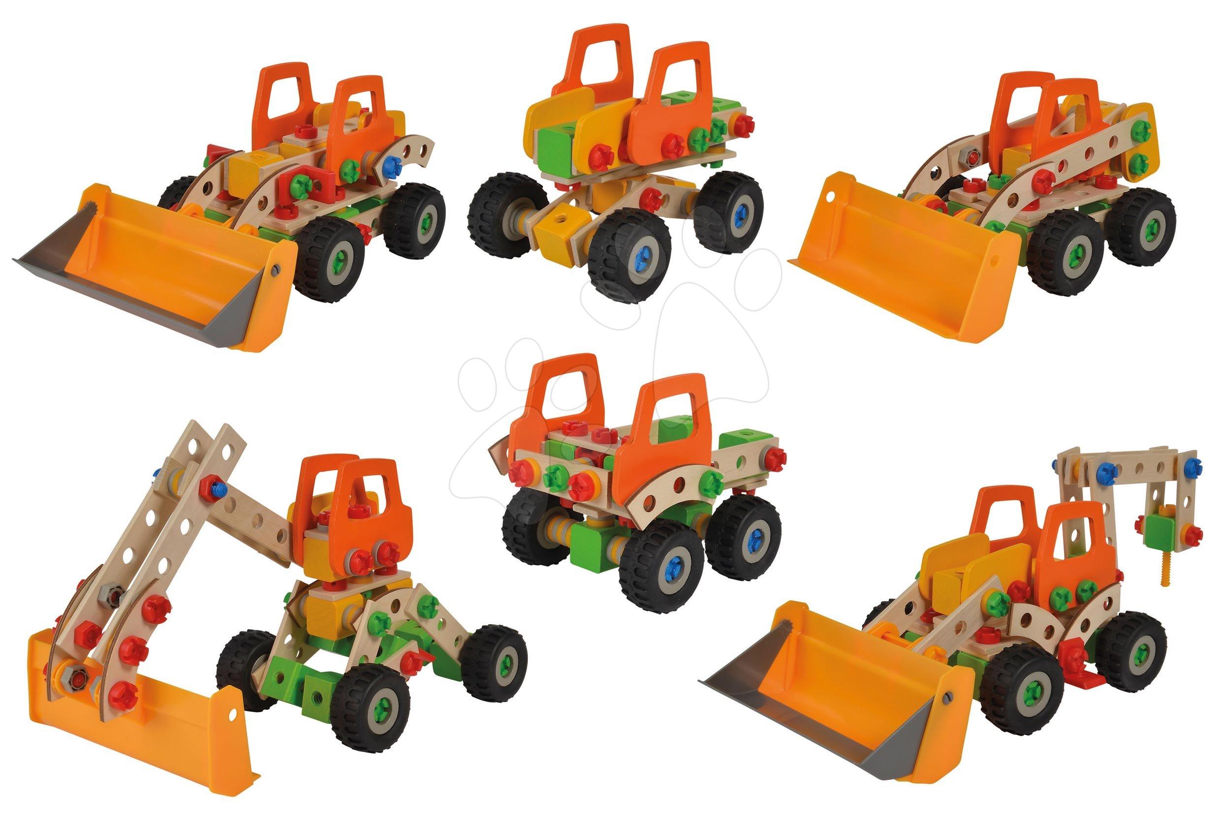 Joc de construit din lemn încărcător Constructor Wheel Loader Eichhorn șase modele (încărcător, macara, macara mobilă, camion, unimog, bigfoot) 140 piese de la 5 ani