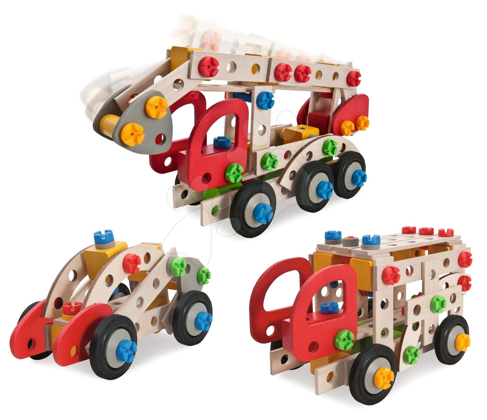 Joc de construit din lemn mașină de pompieri Constructor Fire Truck Eichhorn trei modele (mașină de pompieri, ambulanța, poliția) 155 piese de la 5 ani