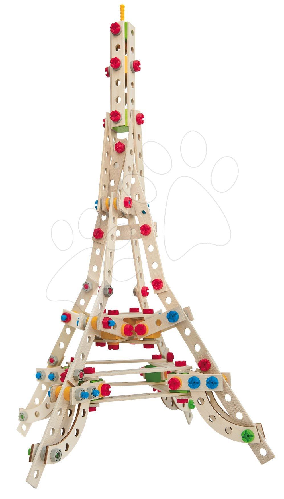 Dřevěná stavebnice Eiffelova věž Constructor Eiffel Tower Eichhorn 3 modely (Eiffelova věž, větrný mlýn, Vítězný oblouk) 315 dílů od 6 let