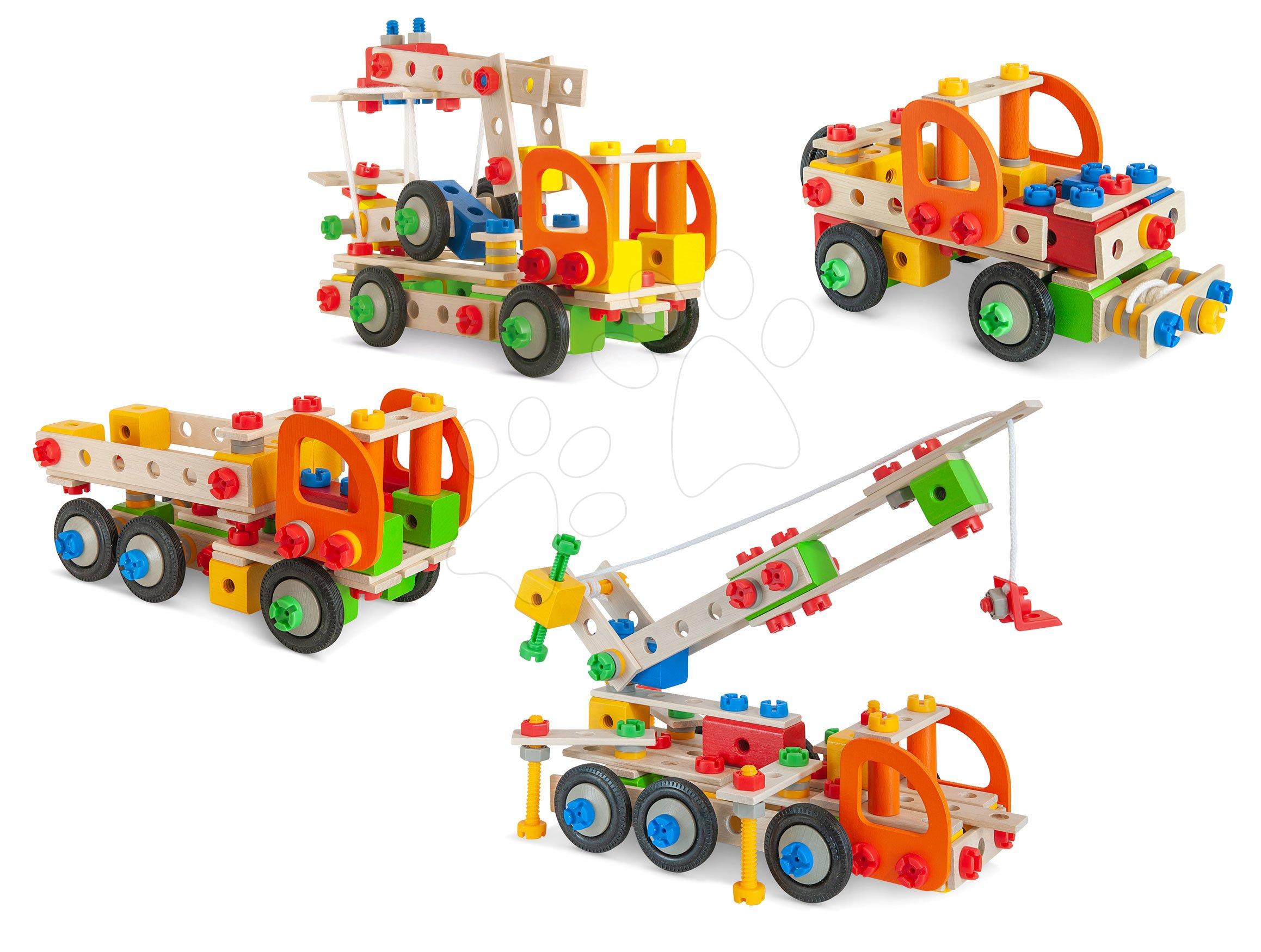 Dřevěné stavebnice Eichhorn - Dřevěná stavebnice pracovní stroje Constructor Tool Box Eichhorn autojeřáb džíp nákladní auto a služební auto 170 dílů od 6 let
