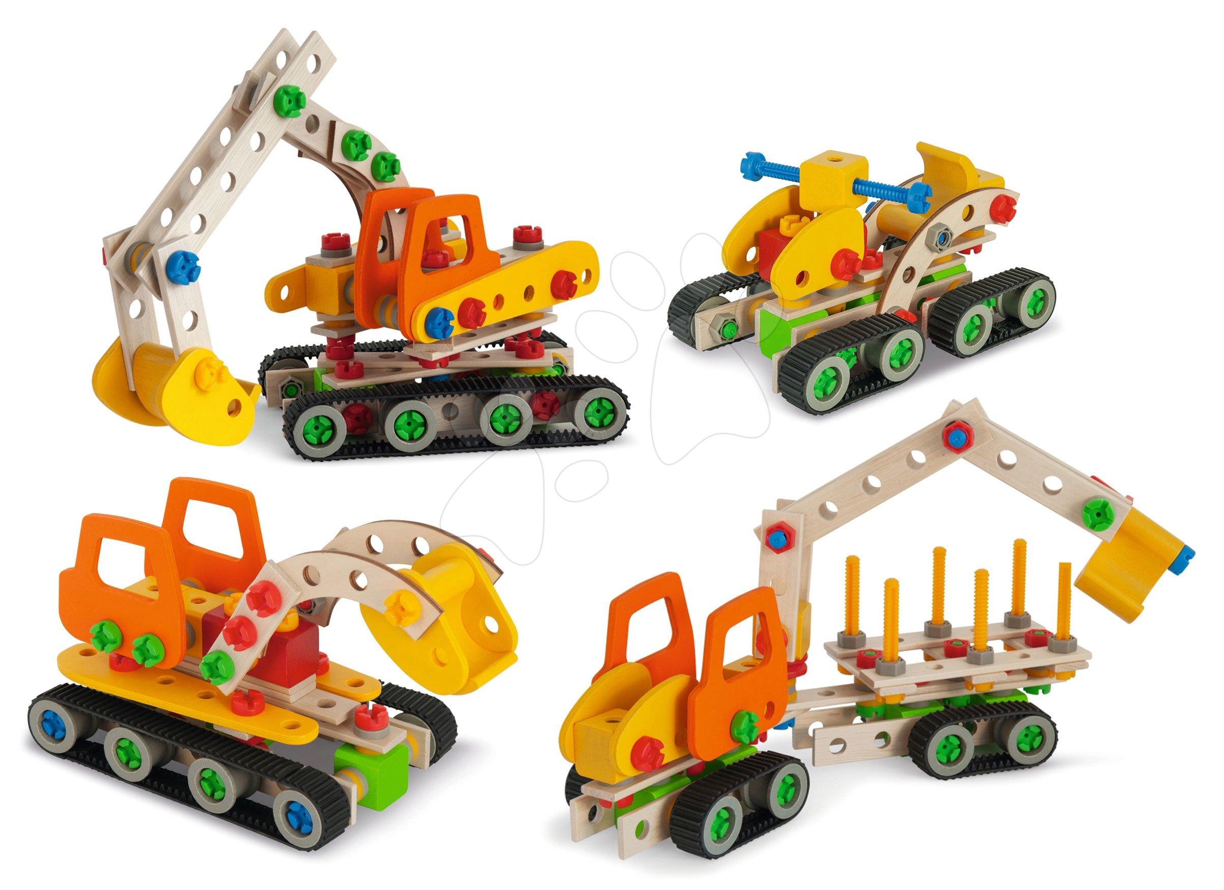 Fa építőjáték mobildaru Constructor Crawler Excavator Eichhorn 4 modell (daru, mobildaru, vagon, hójáró) 170 elem 6 évtől