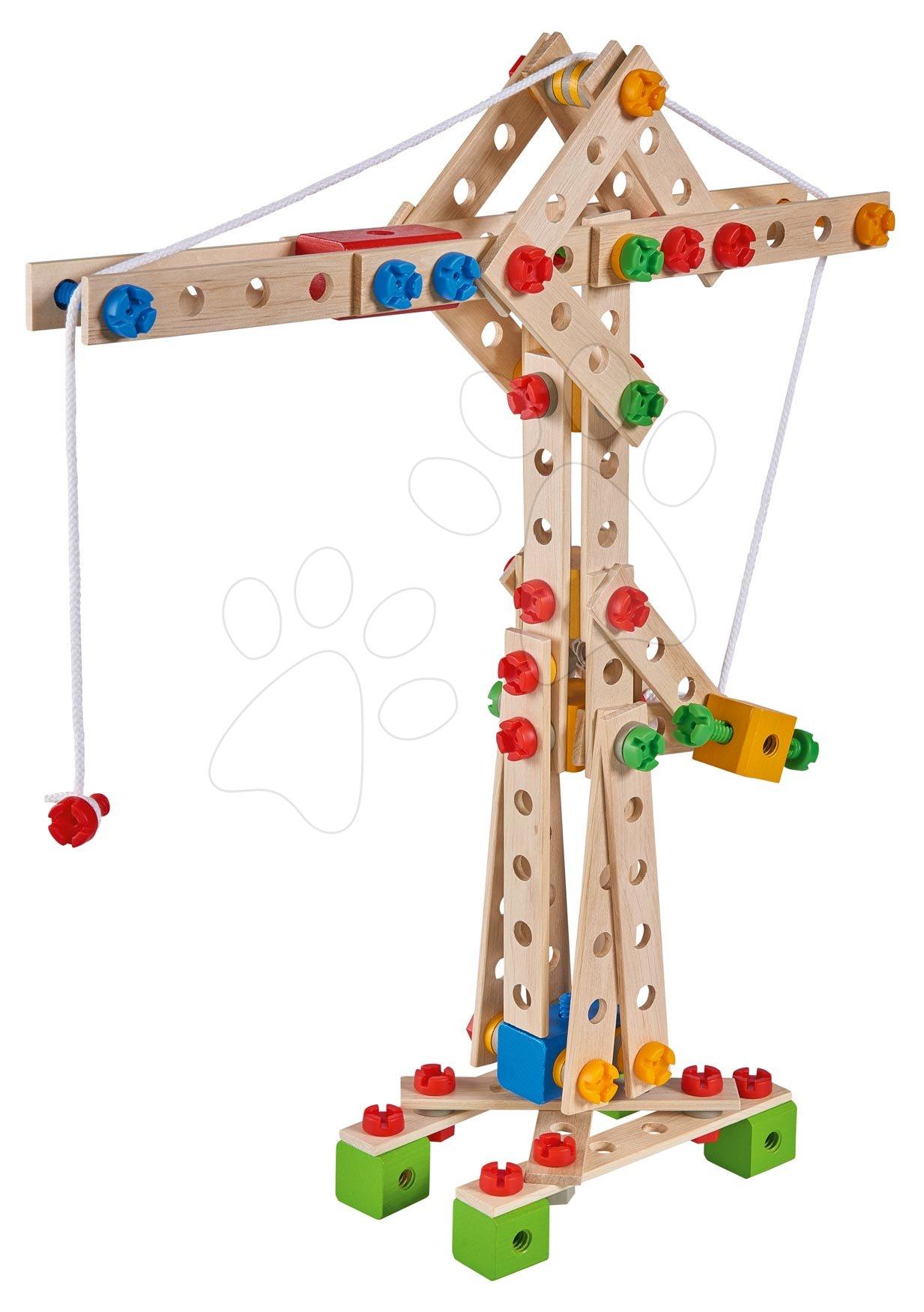 Dřevěná stavebnice jeřáb Constructor Crane Eichhorn 5 modelů (jeřáb, loď, hydroplán, formule, mobilní jeřáb) 170 dílů od 6 let