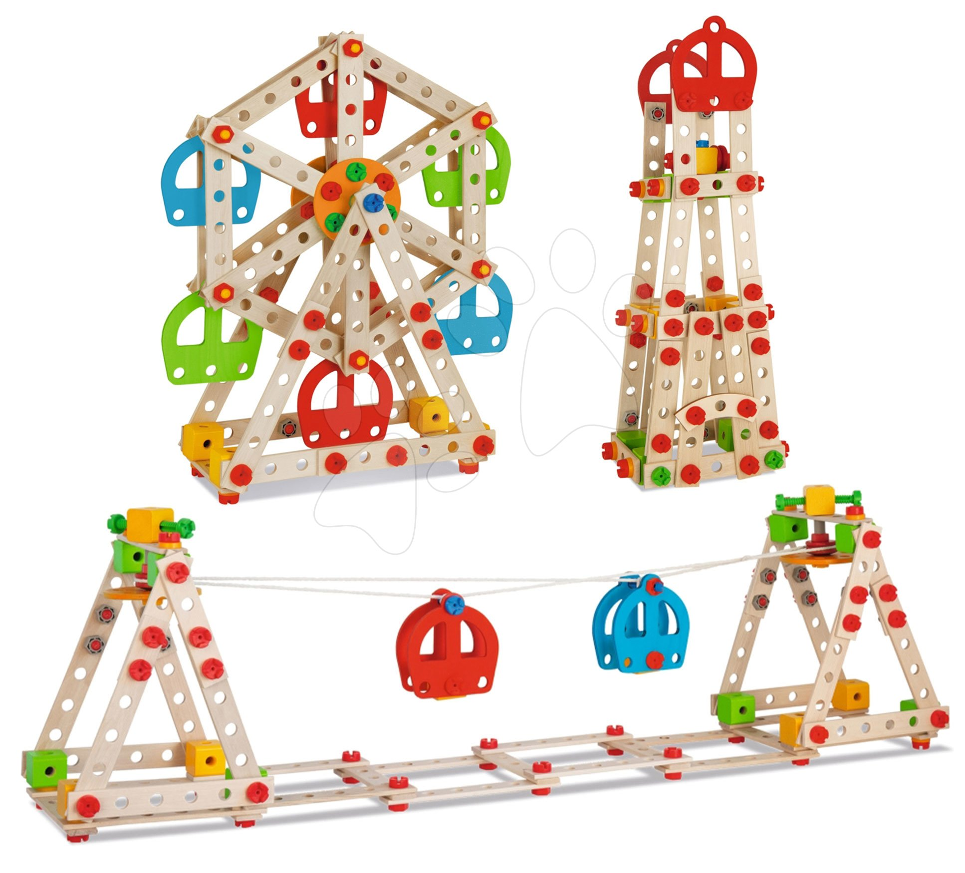 Joc de construit din lemn parc de distractii Constructor Big Wheel Eichhorn 3 modele (parc de distractii, far, telecabină) 240 piese de la 6 ani