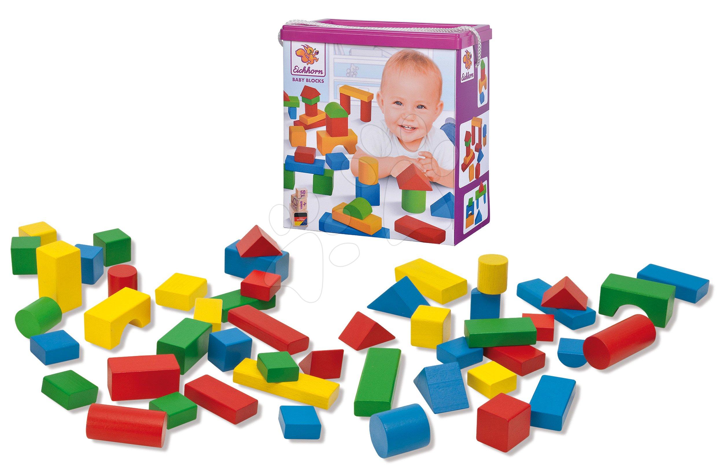 Drevené kocky farebné Coloured Wooden Blocks XL Baby Eichhorn extra veľké 50 kusov veľkosť 40 mm od 12 mes