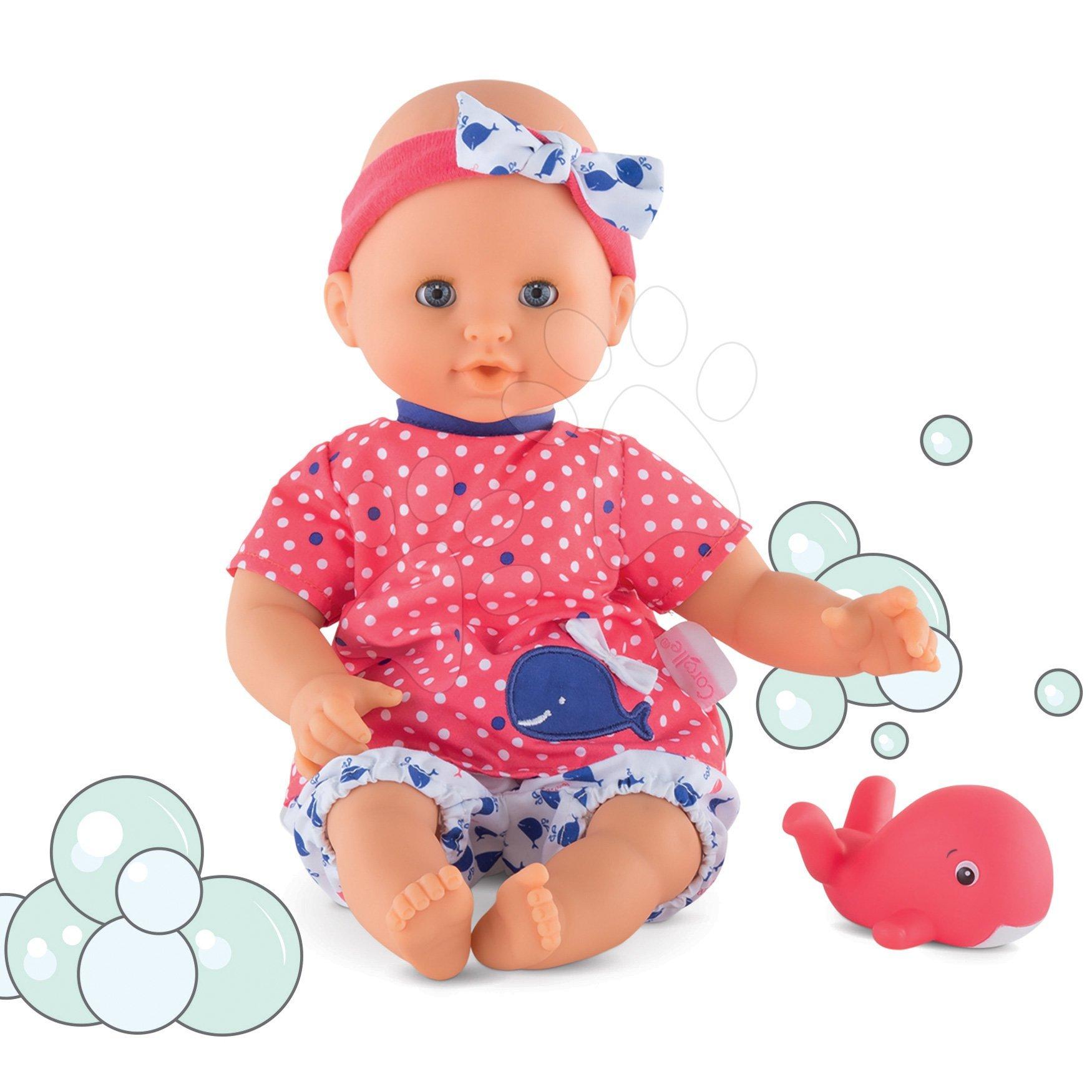 Bábika na kúpanie Bebe Bath Oceane Corolle s modrými klipkajúcimi očami a rybou 30 cm od 18 mes