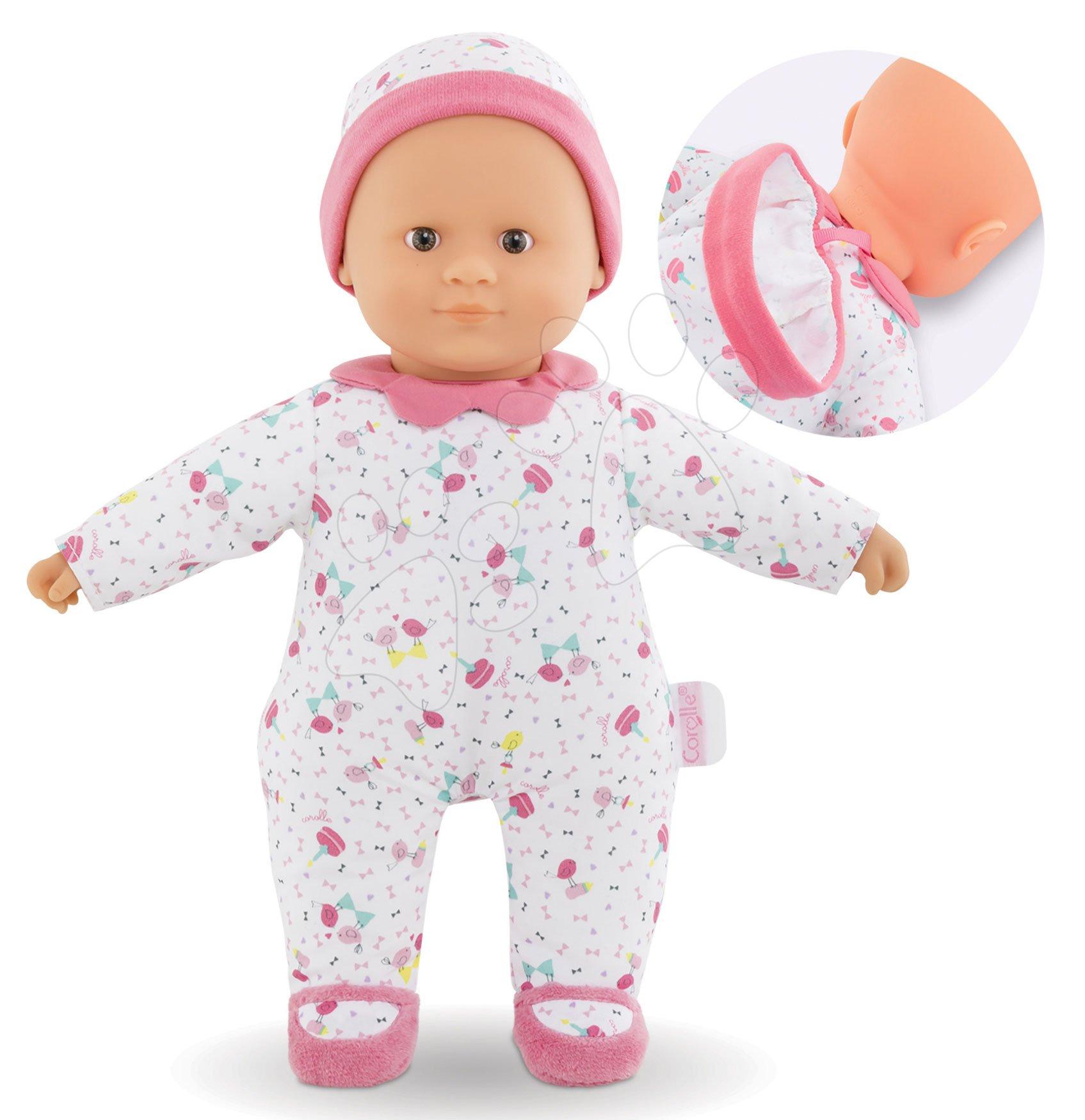 Bábika Sweet Heart Birthday Corolle s hnedými očami, snímateľnou čiapočkou a papučkami 30 cm - ideálny darček k 1. narodeninám od 9 mes