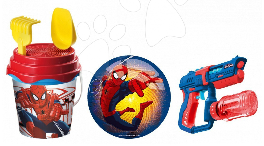 Kbelík set Spiderman Mondo s 23 cm míčem a vodní pištolí v tašce
