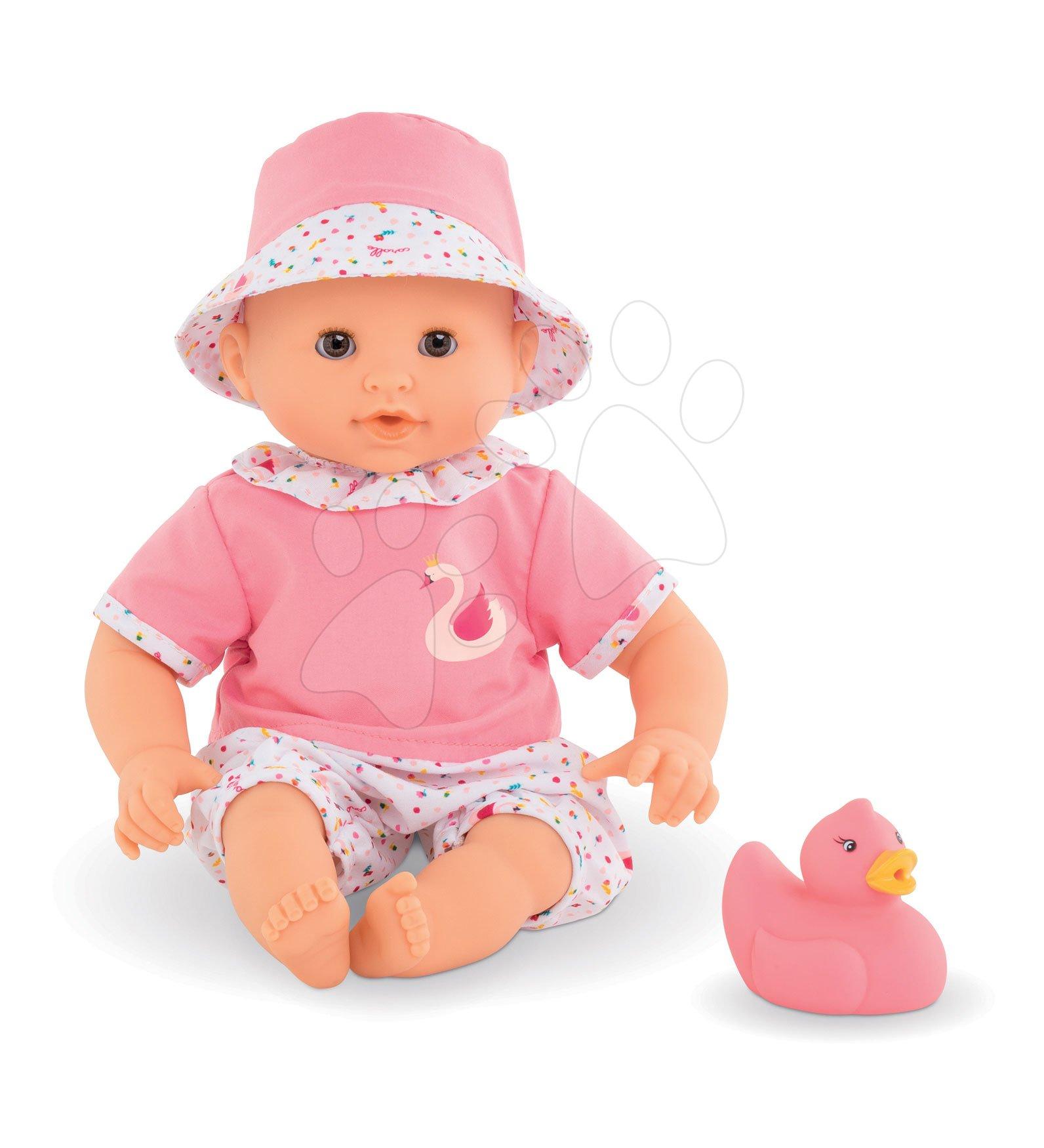Bábika na kúpanie sa Bebe Bath Calypso Corolle s hnedými klipkajúcimi očami a labuťou 30 cm od 18 mes CO100350