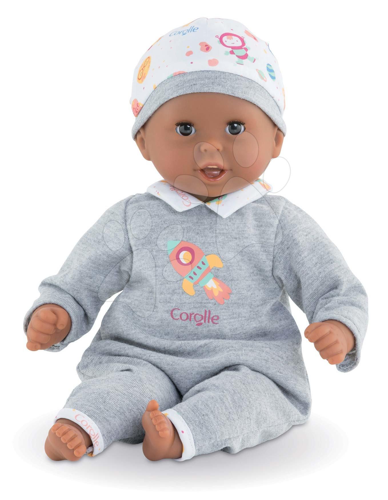 Bábiky od 18 mesiacov - Bábika Bébé Calin Marius Corolle s čiernymi klipkajúcimi očami a fazuľkami 30 cm od 18 mes