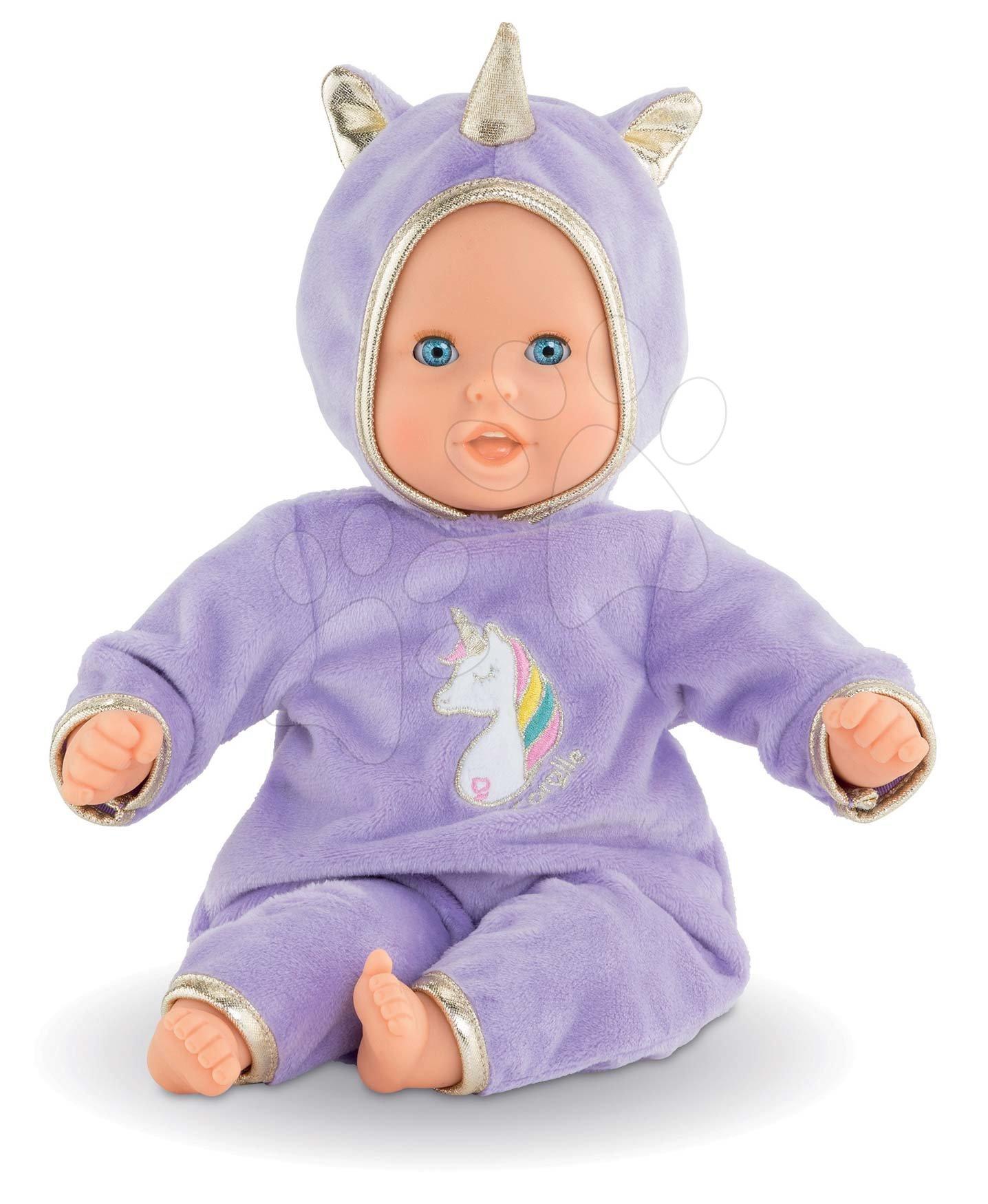Panenky od 18 měsíců - Panenka Bébé Calin Unicorn Corolle s modrými mrkacími očima a fazolkami 30 cm od 18 měs
