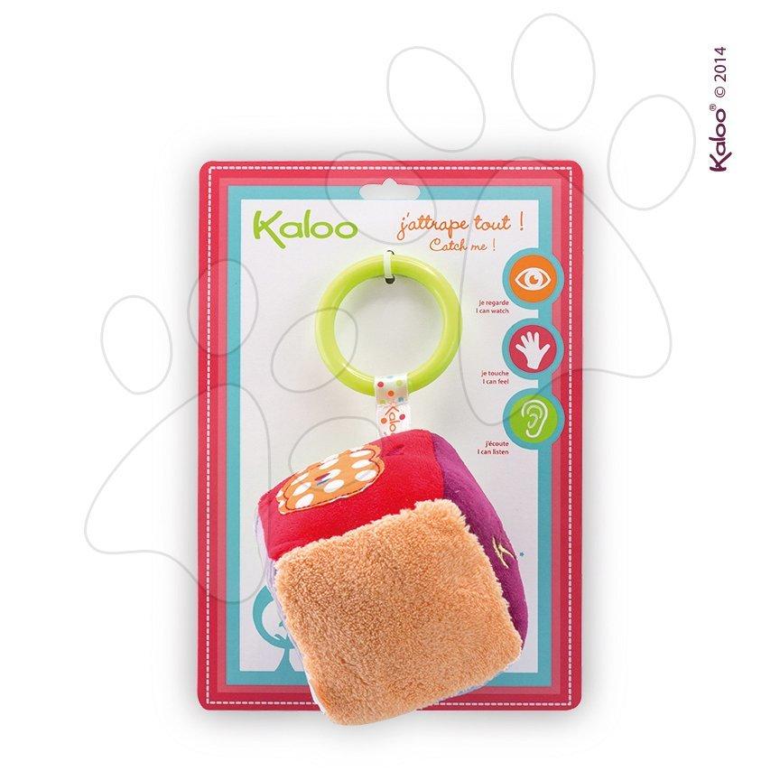 Plyšová kostka Colors-Activity Cube Kaloo s chrastítkem a zrcadlem 13 cm pro nejmenší