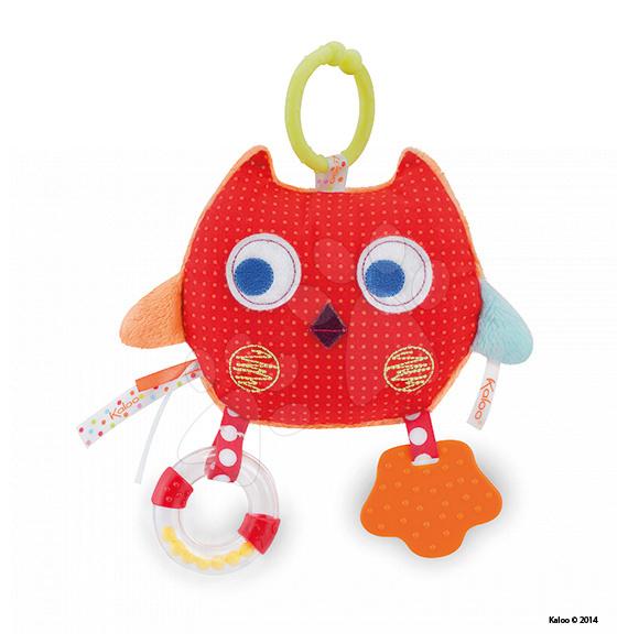 Hrkálky a hryzátka - Textilná sovička Colors-My Comforting Owl Kaloo s hrkálkou a hryzátkom 25 cm pre najmenších