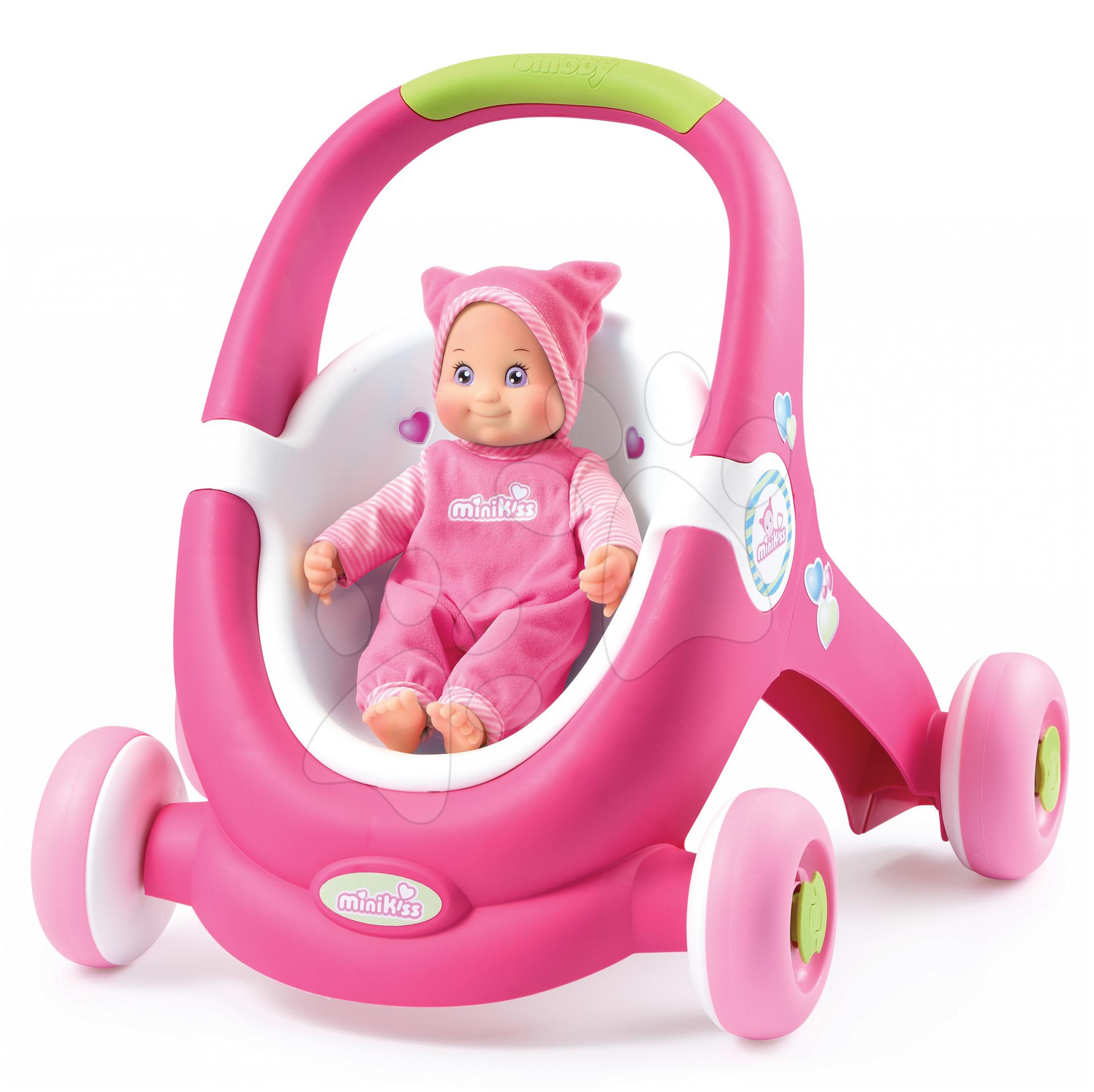 Kočárek pro panenku a dětské chodítko 2v1 MiniKiss Smoby od 12 měsíců světle růžový