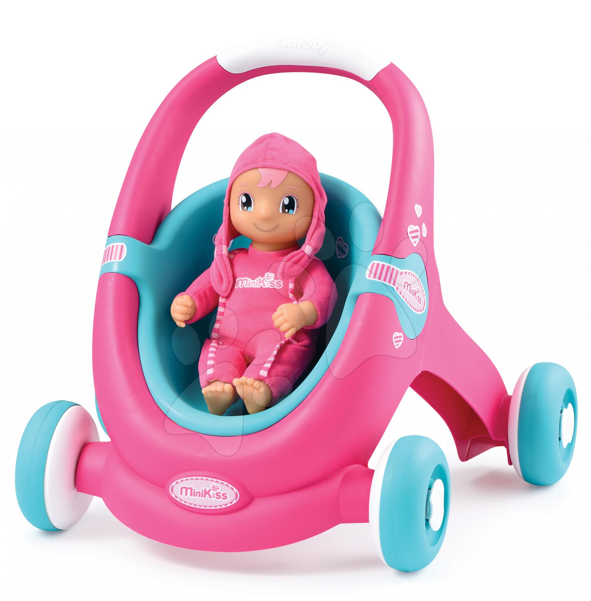 Kočíky pre bábiky od 12 mesiacov - Kočík pre bábiku a chodítko 2v1 MiniKiss Smoby ružovo-tyrkysový od 12 mes