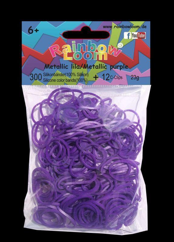 Rainbow Loom gumičky metalické - Rainbow Loom metalízové originálne gumičky 300 kusov fialové od 6 rokov
