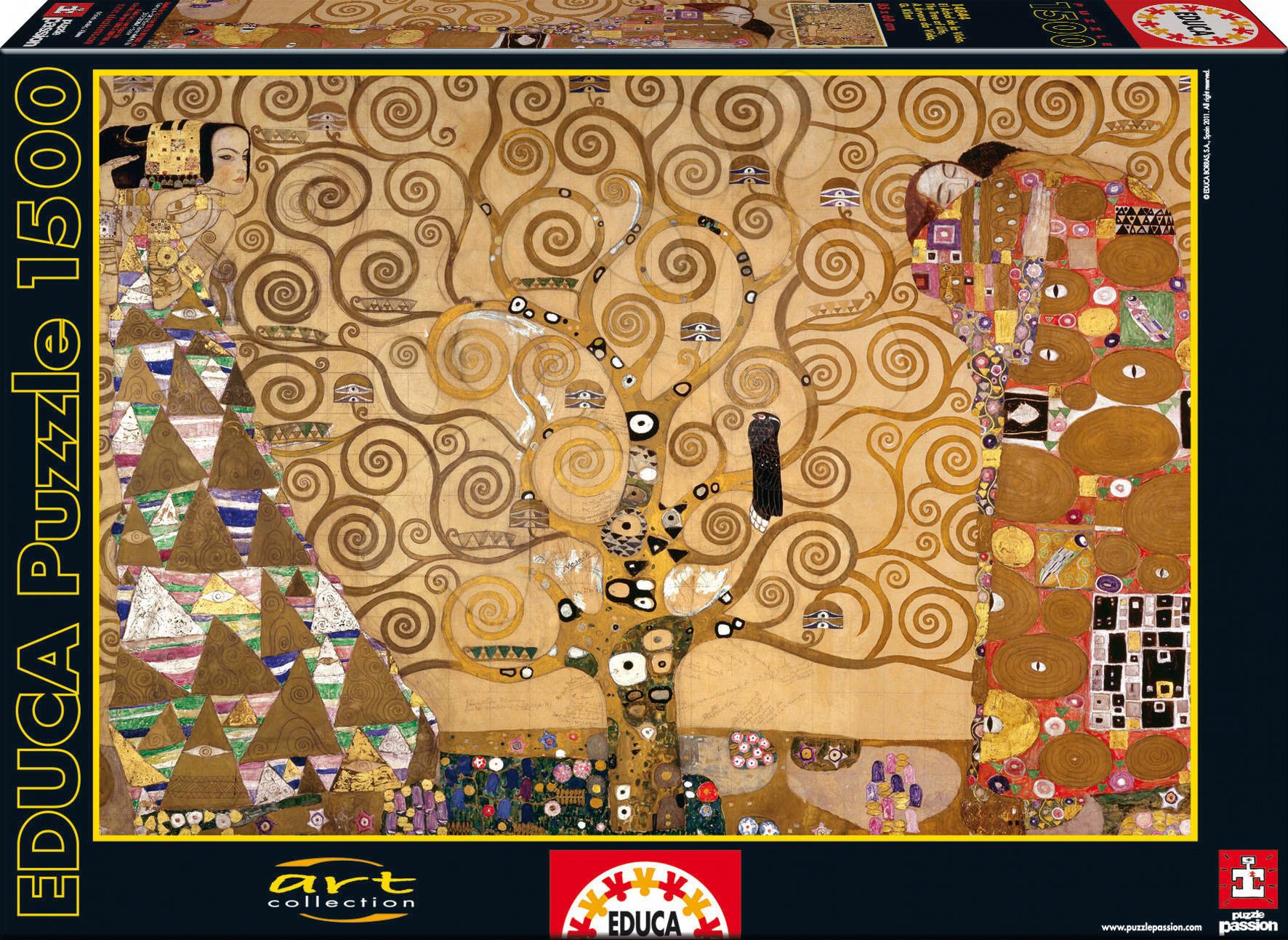 Puzzle Art The Tree of Life, G. Klimt Educa 1500 dílků a FIX PUZZLE LEPIDLO